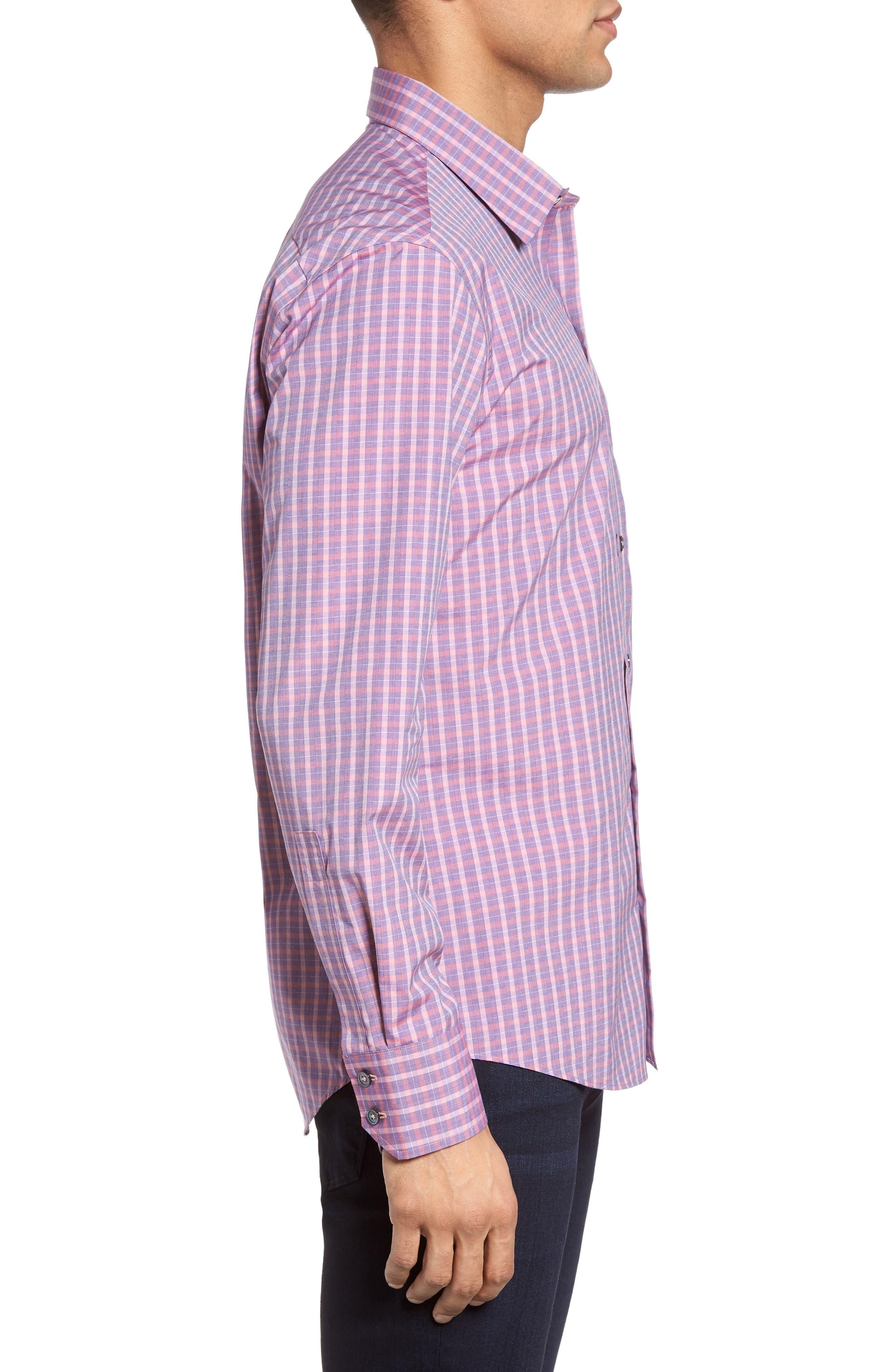 Trim Fit Plaid Sport Shirt,                             Alternate thumbnail 3, color,