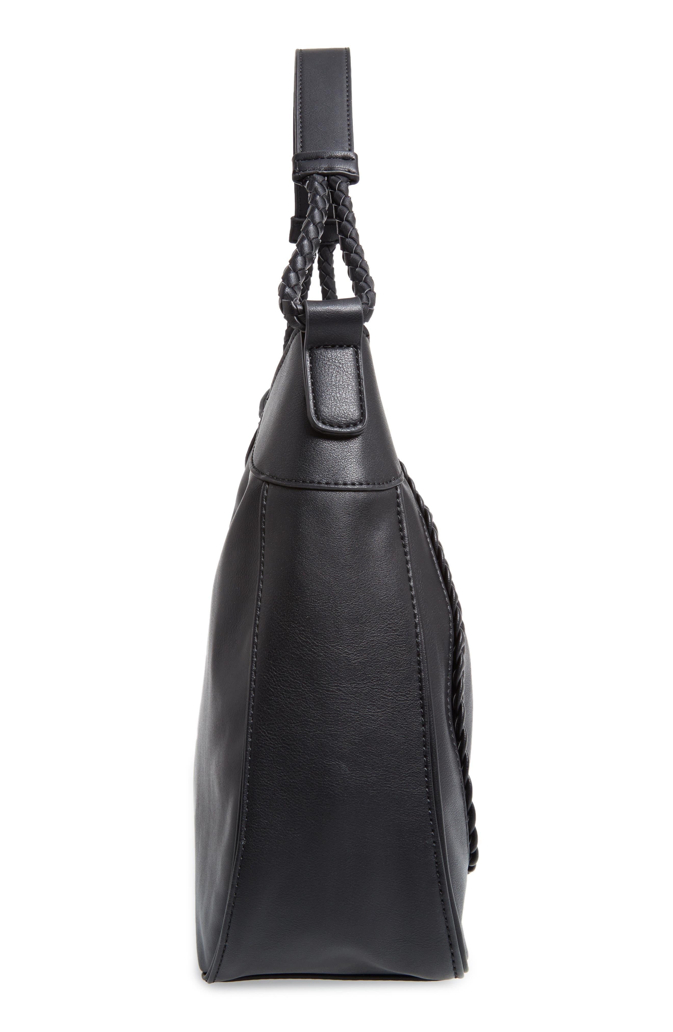Rema Faux Leather Shoulder Bag,                             Alternate thumbnail 5, color,                             001