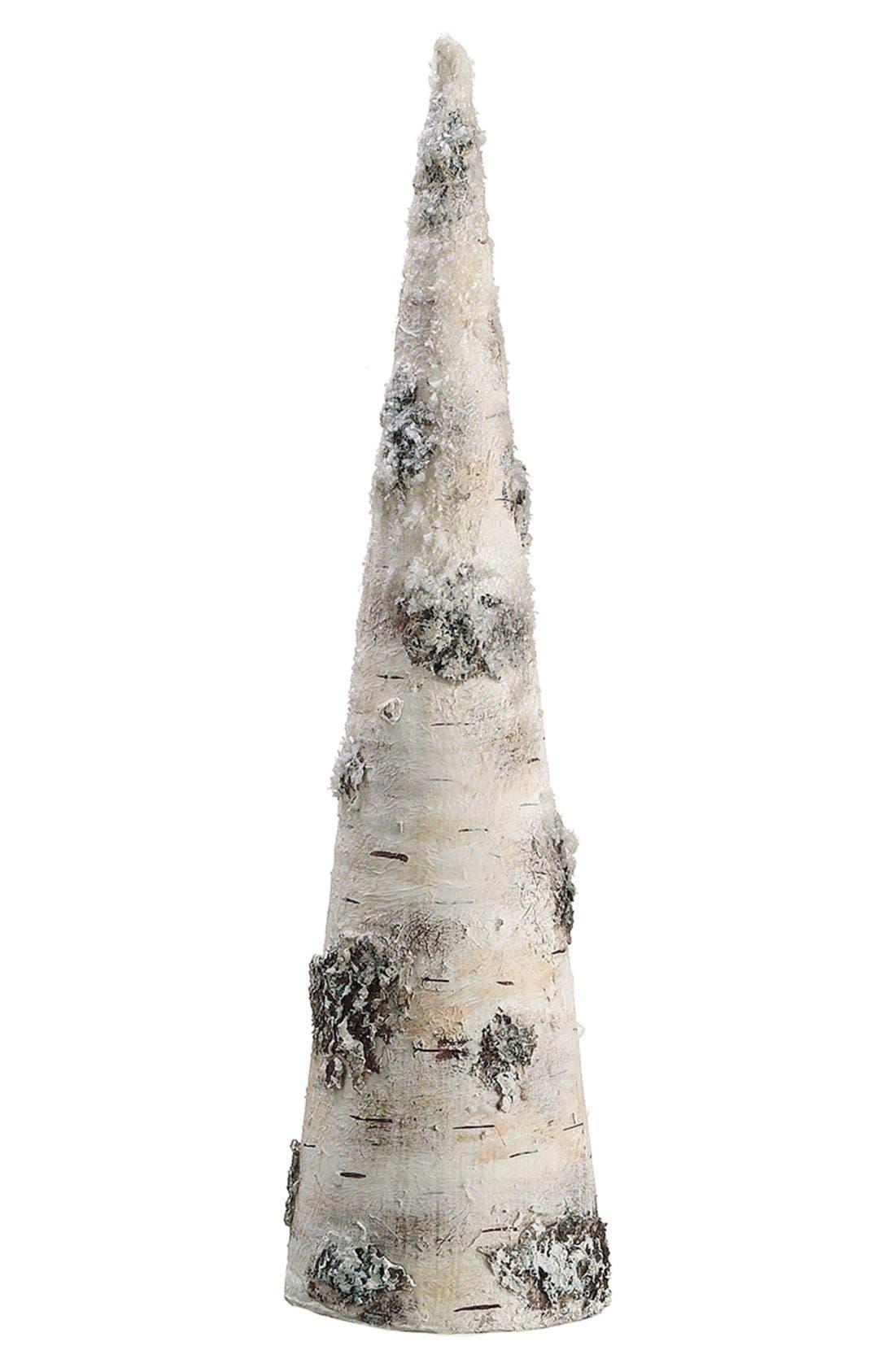 Snowy Faux Birch Cone Decoration,                             Alternate thumbnail 3, color,                             280