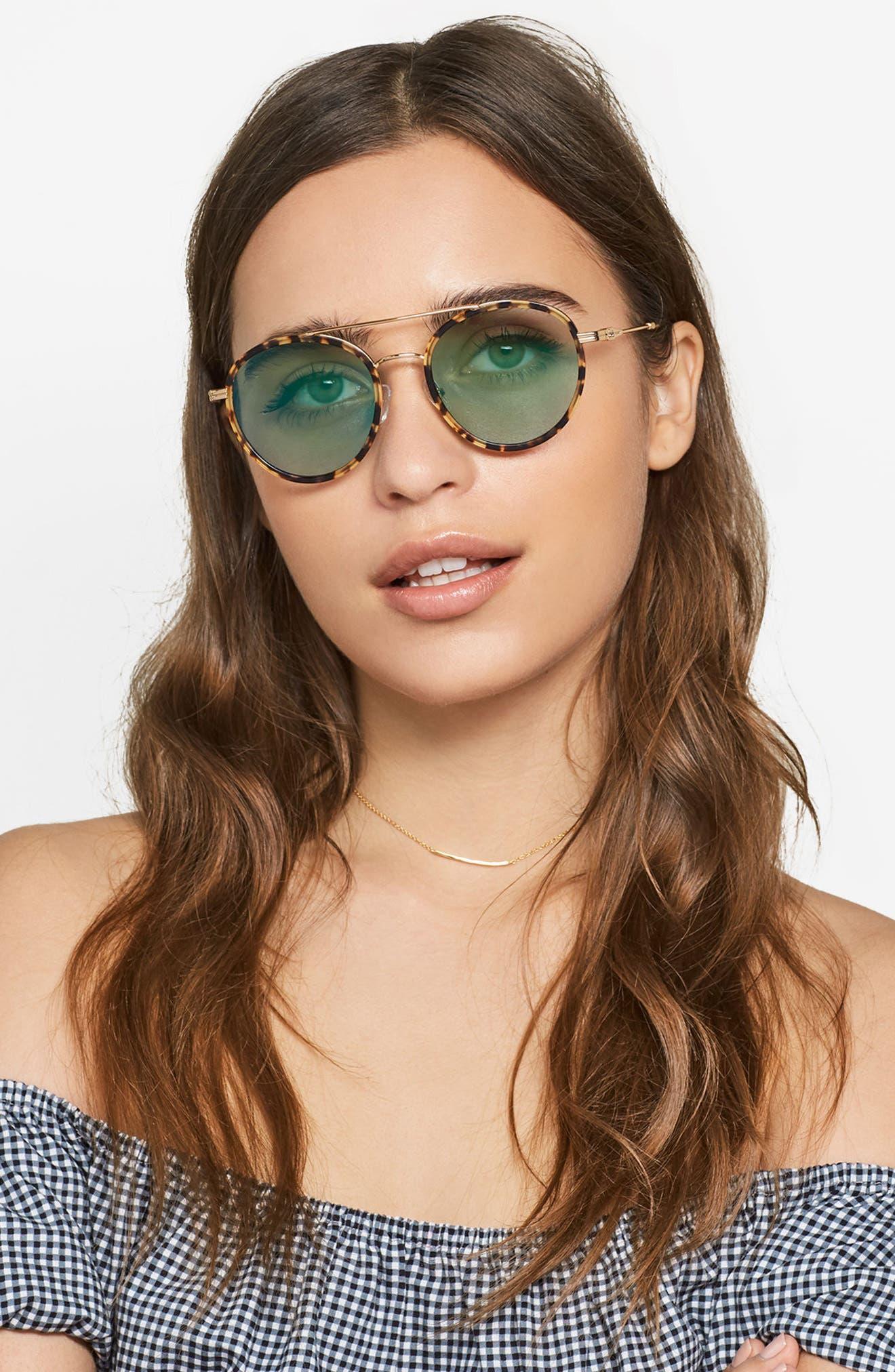 Charli 50mm Mirrored Lens Round Sunglasses,                             Alternate thumbnail 19, color,