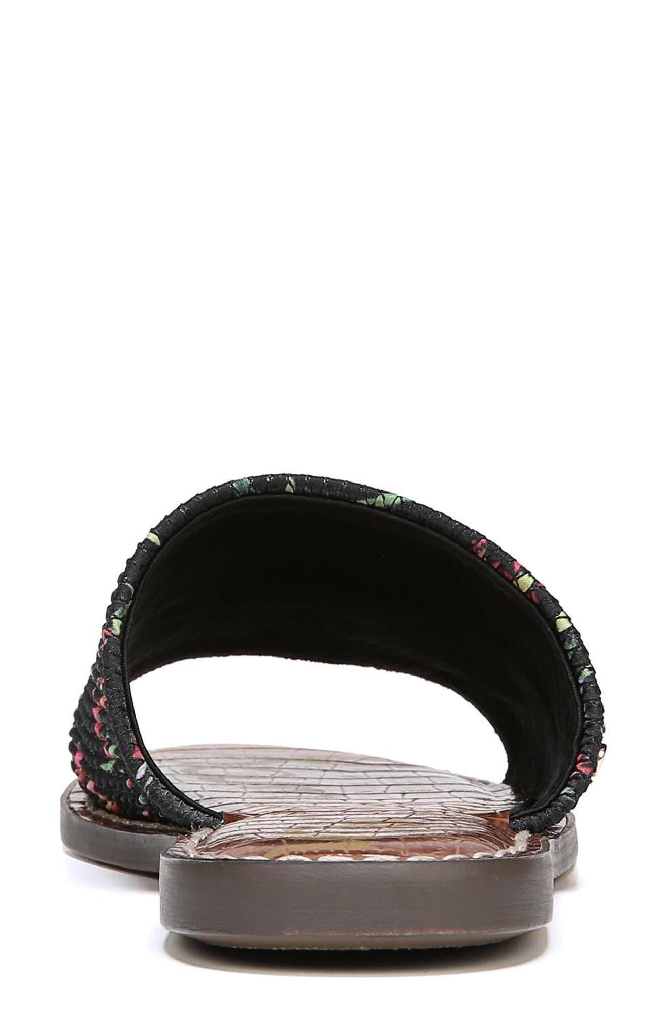 Gio Slide Sandal,                             Alternate thumbnail 8, color,                             BLACK FLORAL PRINT FABRIC