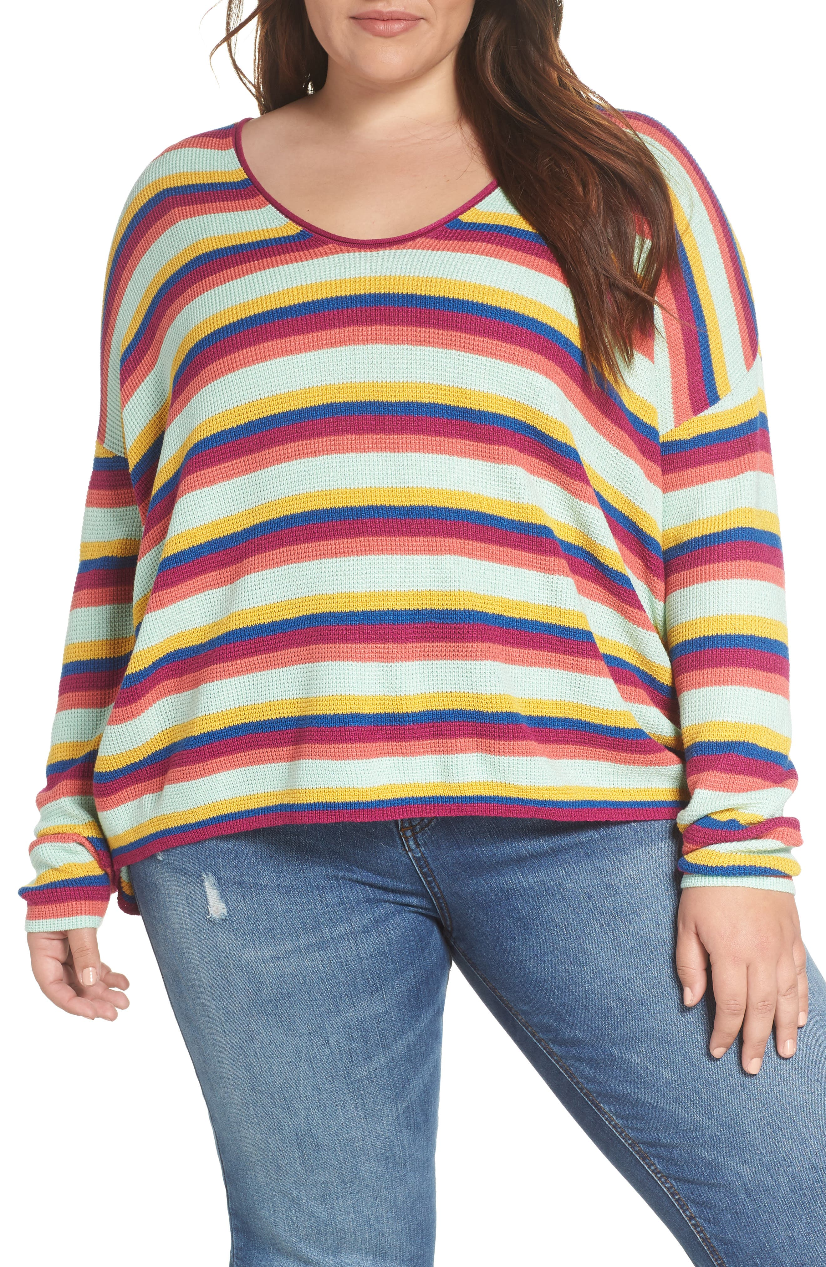 BP.,                             Stripe Thermal Stitch Sweater,                             Alternate thumbnail 2, color,                             PINK YARROW EMMA STRIPE