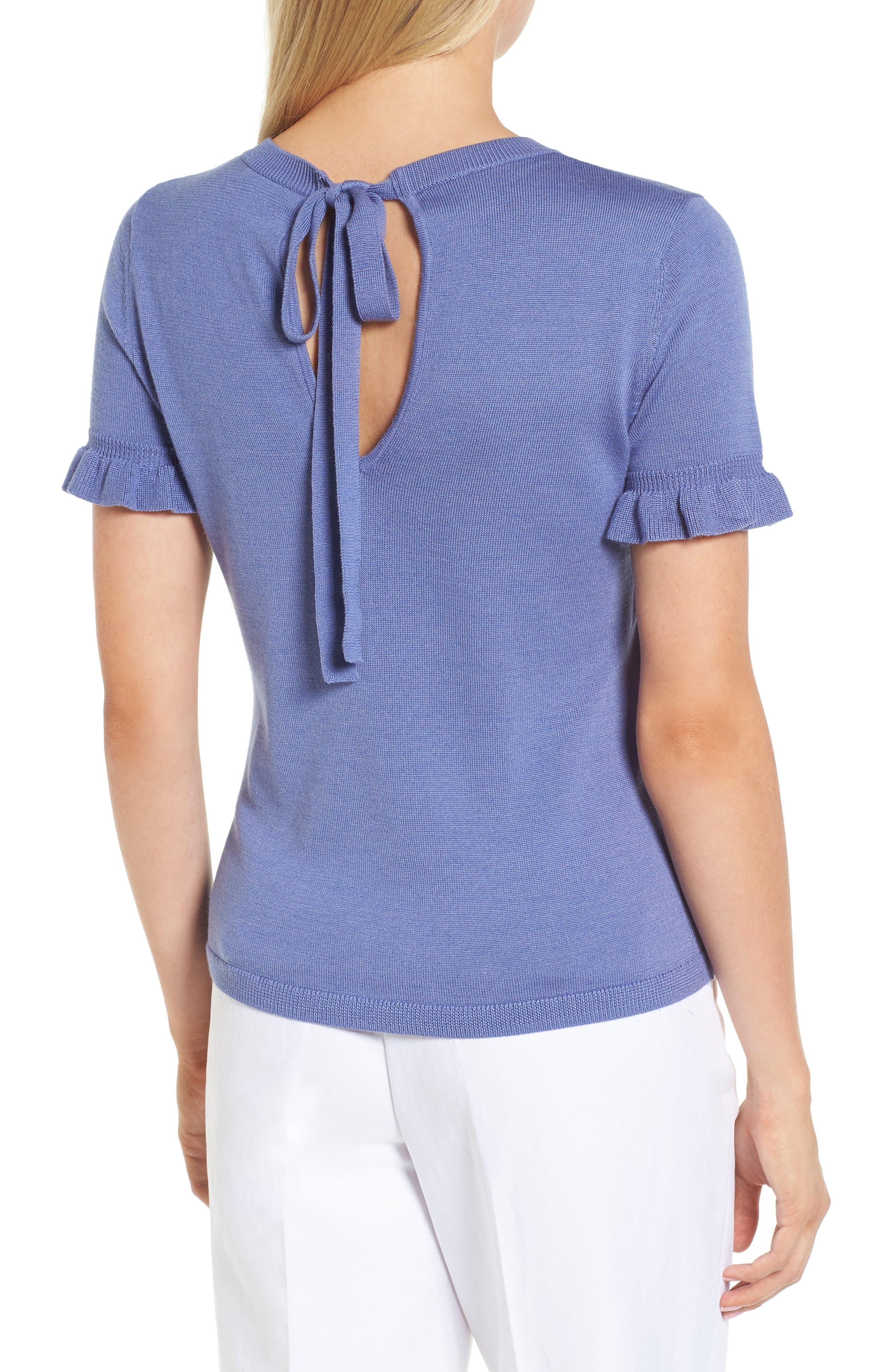Tie Back Merino Wool & Silk Sweater,                             Alternate thumbnail 4, color,