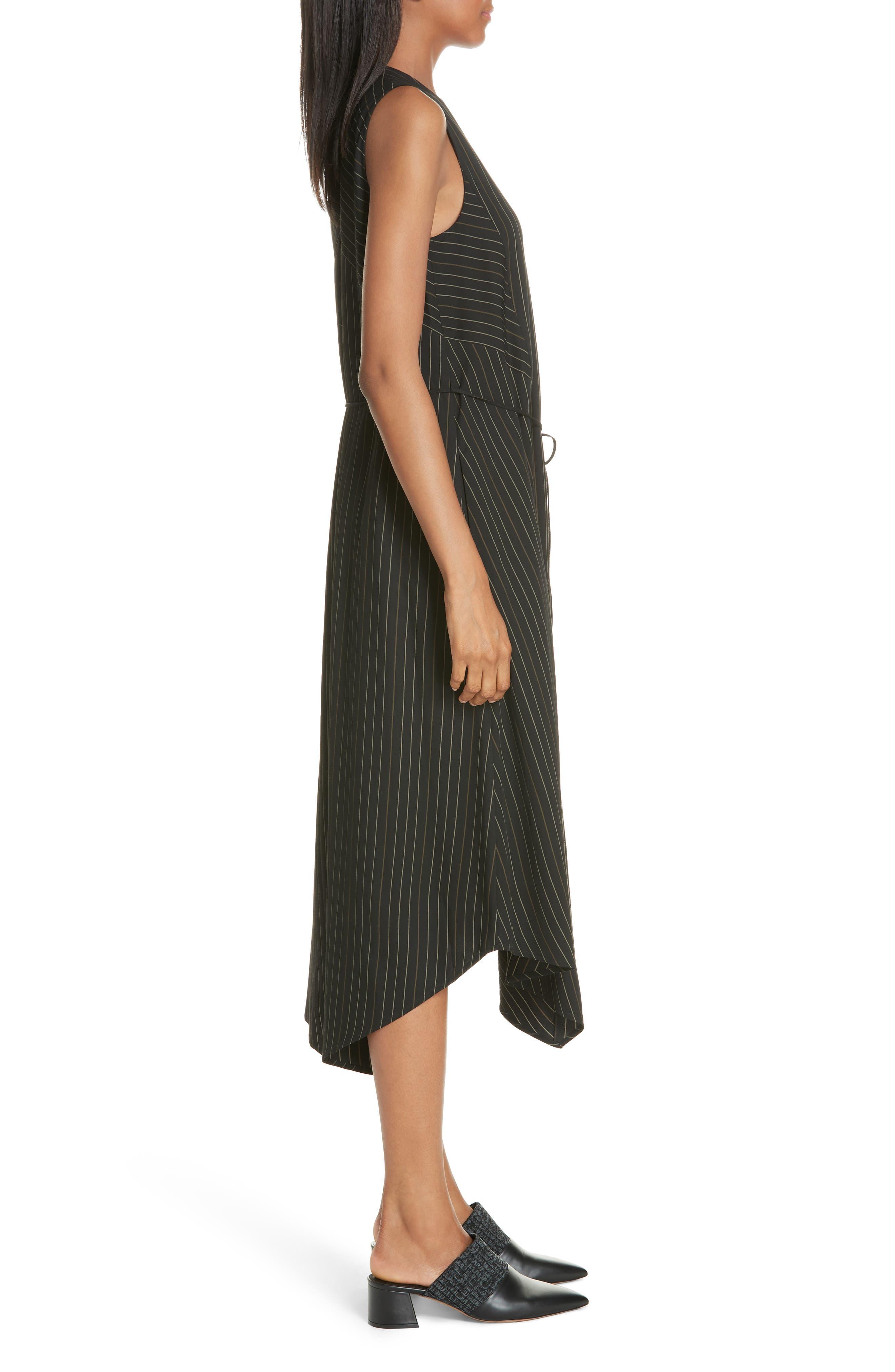 Bar Stripe Paneled Dress,                             Alternate thumbnail 3, color,                             BLACK