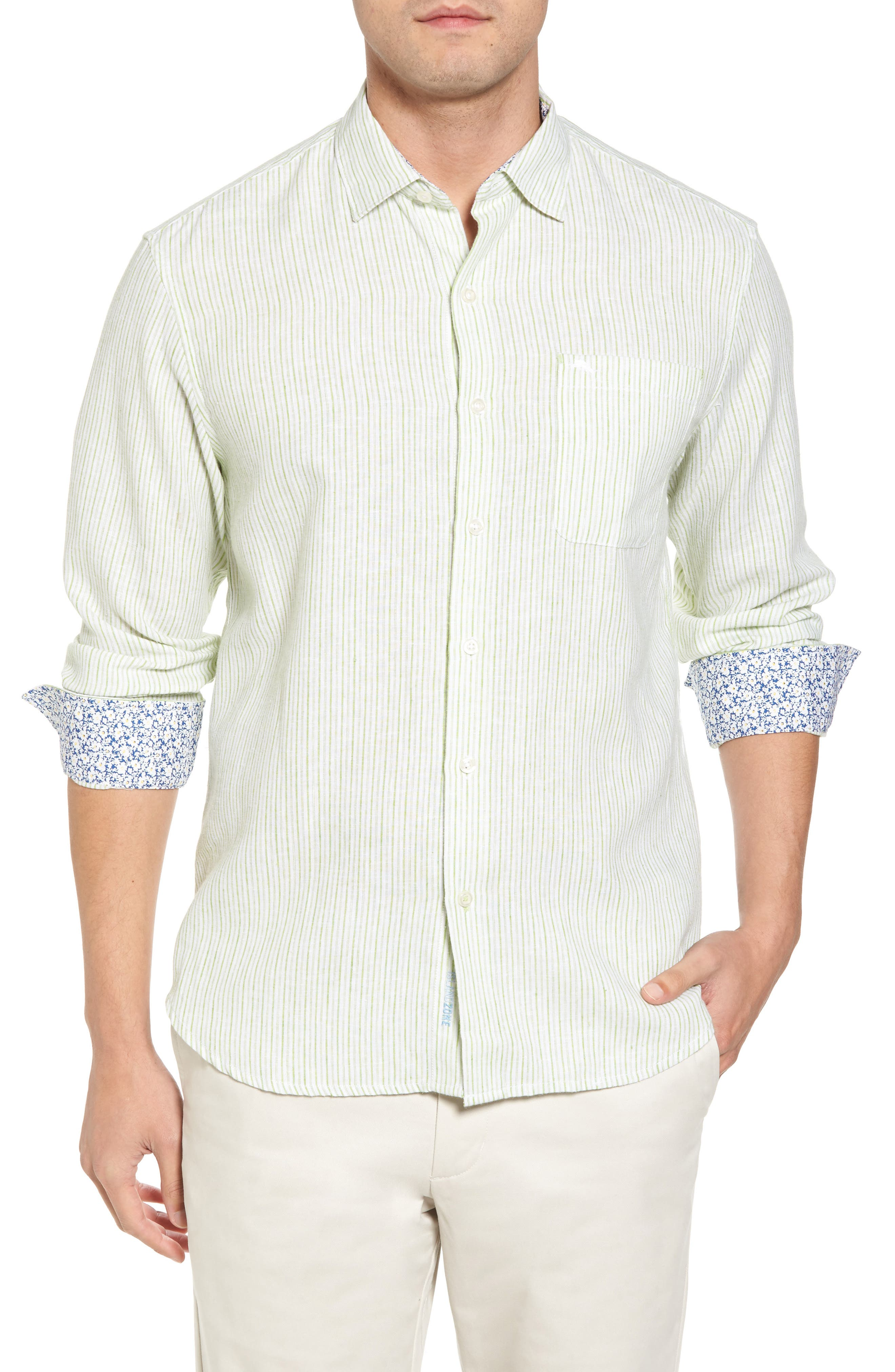 Bungalow Stripe Regular Fit Linen Blend Sport Shirt,                             Main thumbnail 1, color,