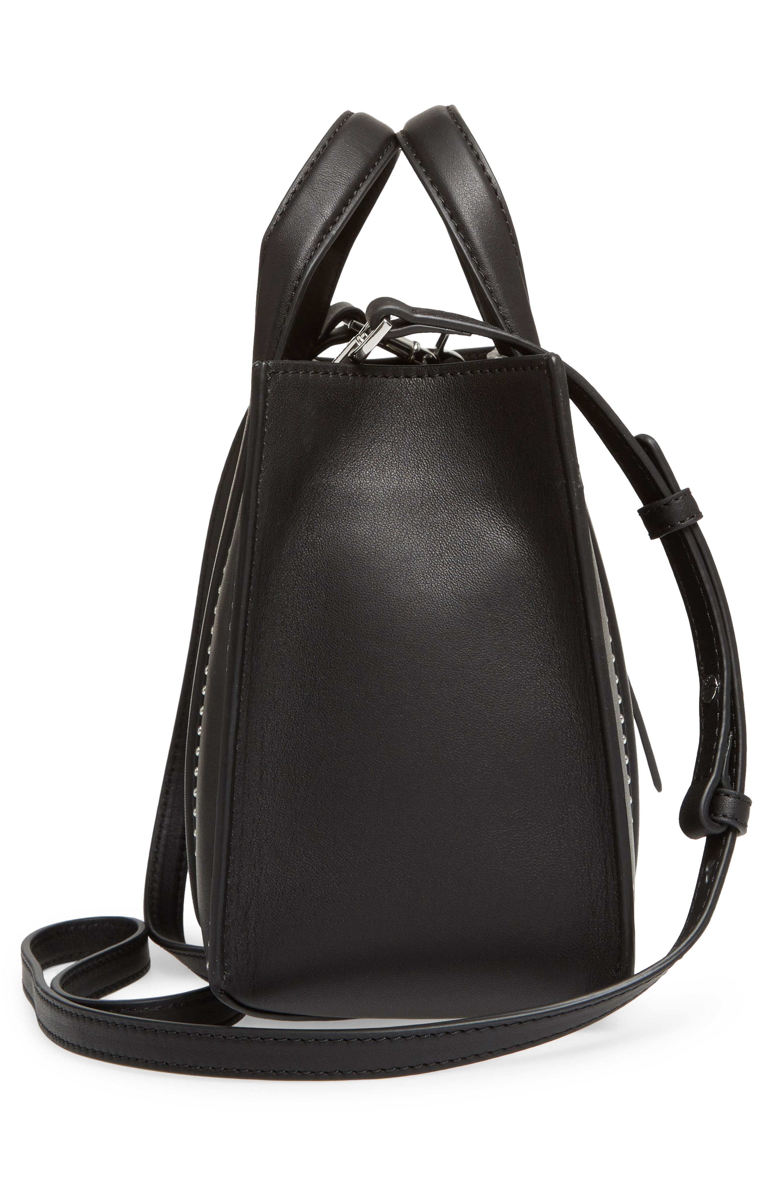 Mini Kyra Nappa Leather Tote,                             Alternate thumbnail 5, color,                             001