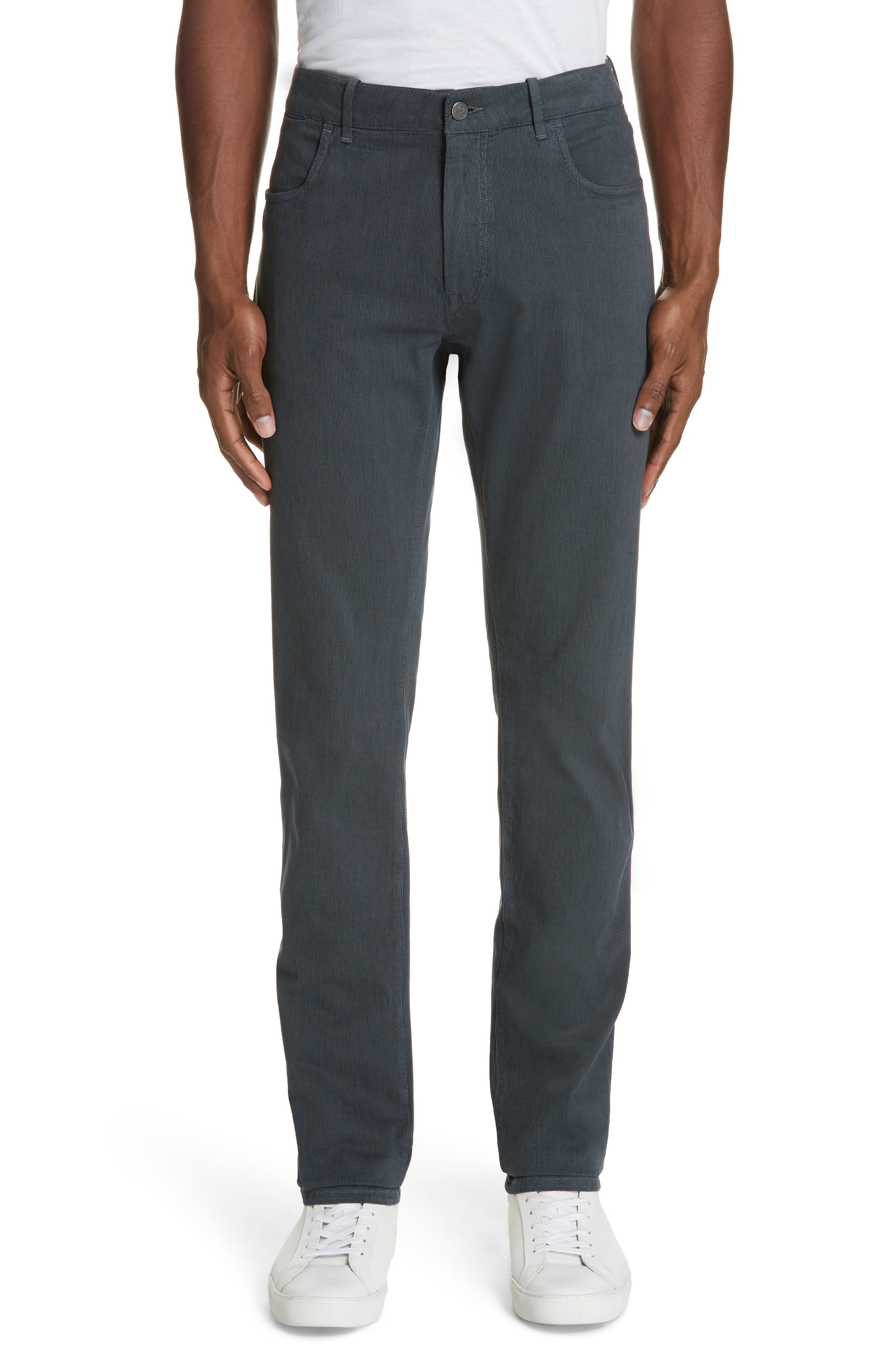 Stretch Cotton Five-Pocket Trousers,                         Main,                         color, GREY