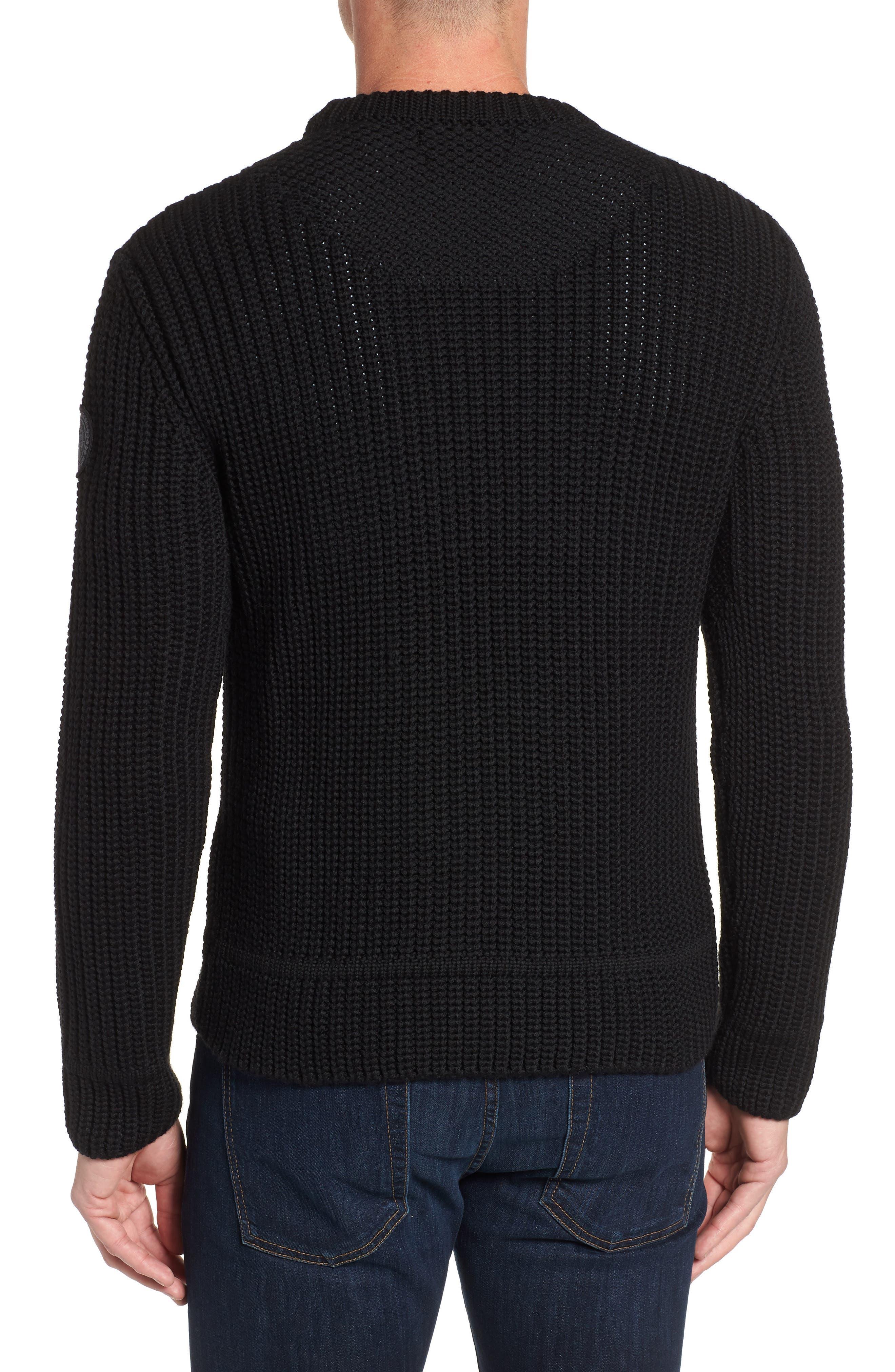 Galloway Regular Fit Merino Wool Sweater,                             Alternate thumbnail 2, color,                             BLACK