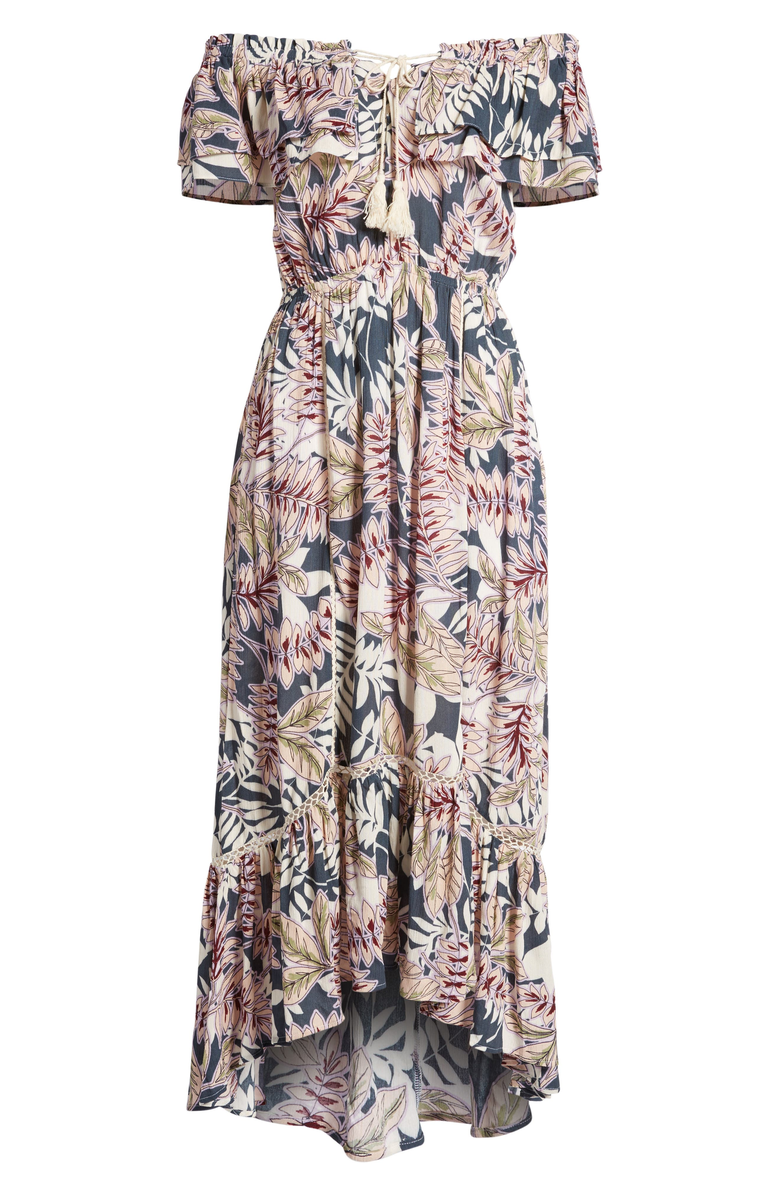 Maui Off the Shoulder High/Low Maxi Dress,                             Alternate thumbnail 6, color,                             340