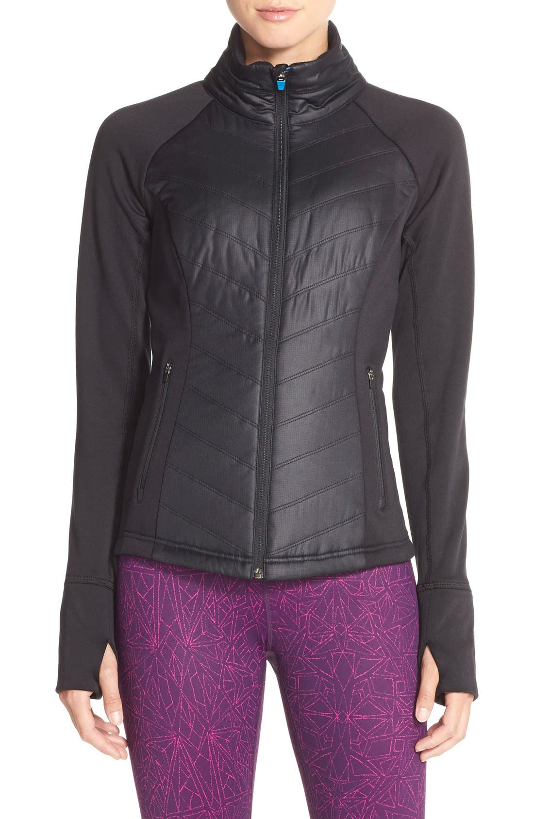 Zelfusion Reflective Quilted Jacket,                             Main thumbnail 1, color,                             001