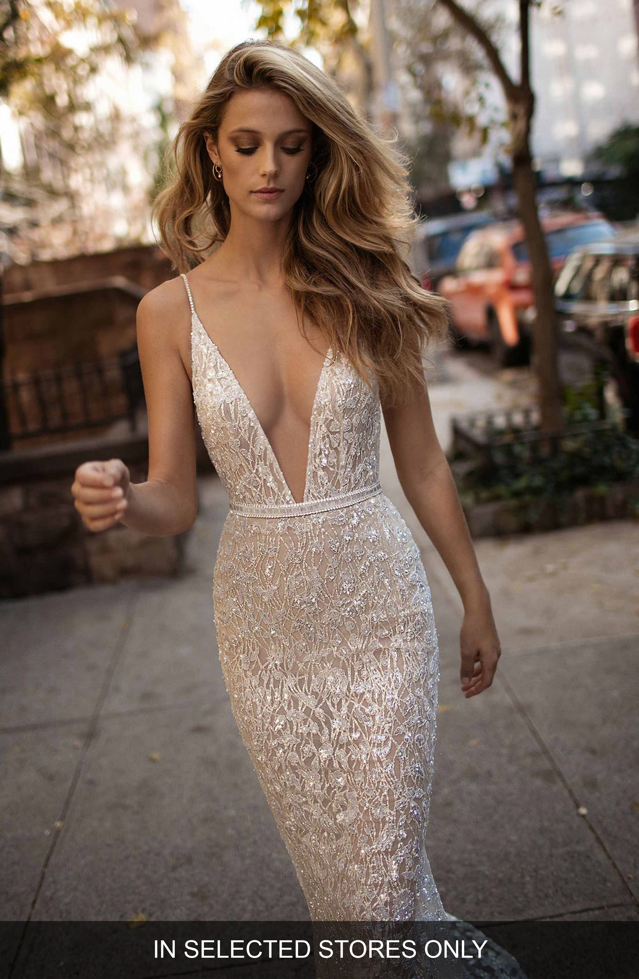 Spaghetti Strap Beaded Mesh Mermaid Gown,                         Main,                         color, IVORY
