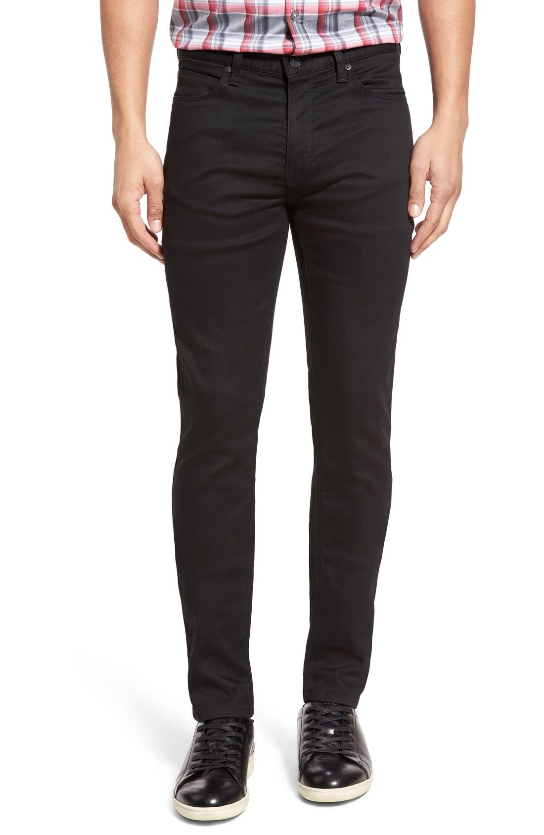 ZZDNUHUGO BOSS,                             HUGO '734' Extra Slim Fit Jeans,                             Main thumbnail 1, color,                             001