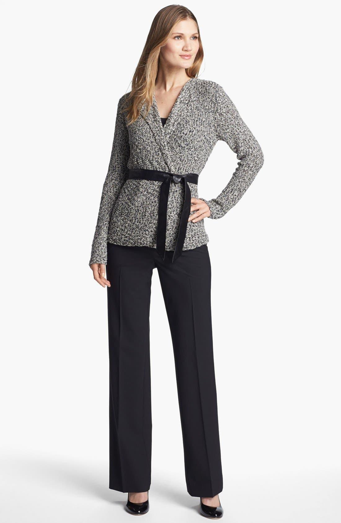 'Gallo' Belted Sweater Jacket,                             Alternate thumbnail 4, color,                             001