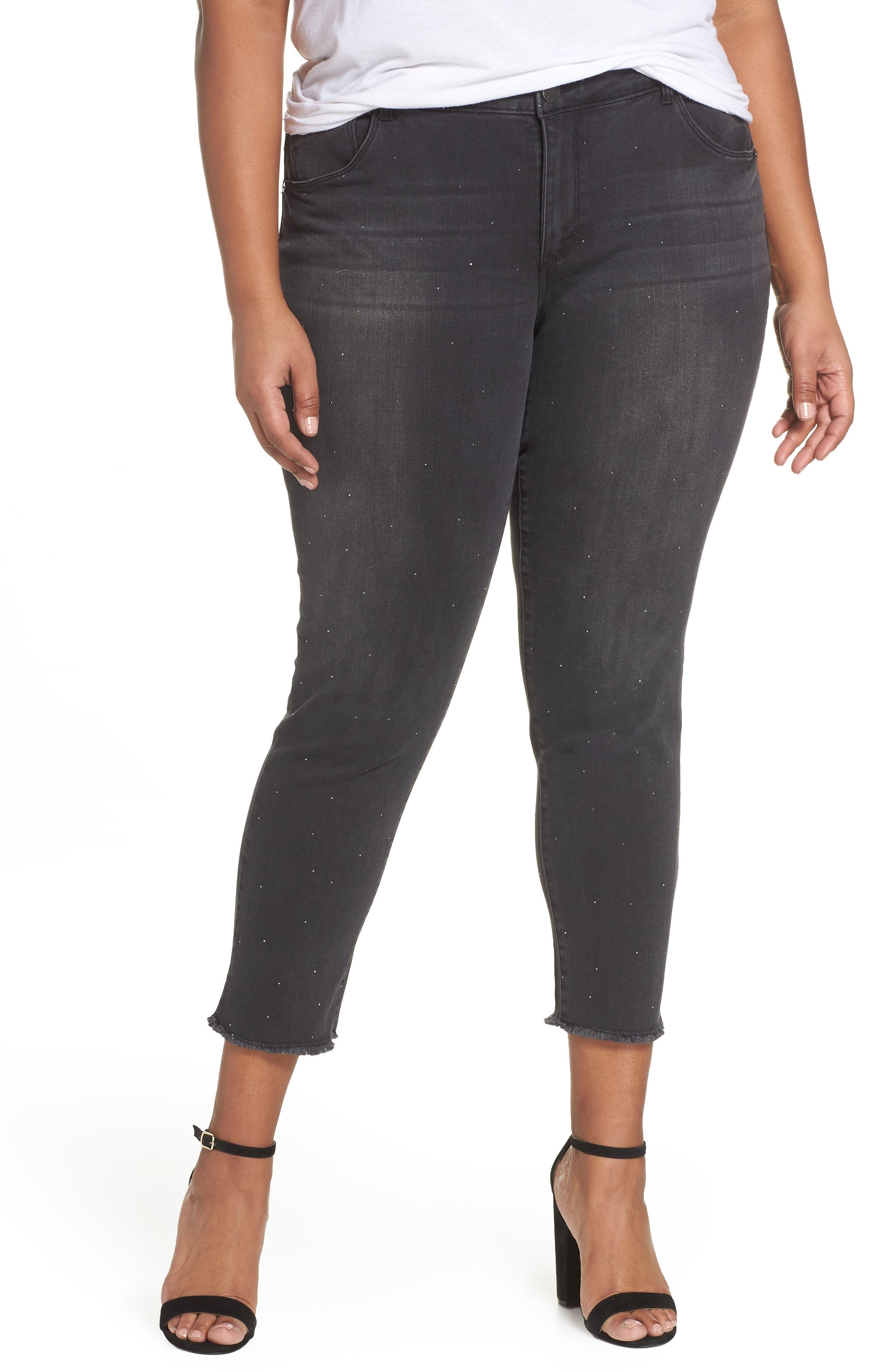 Ab-Solution Embellished Ankle Jeans,                         Main,                         color, BLACK