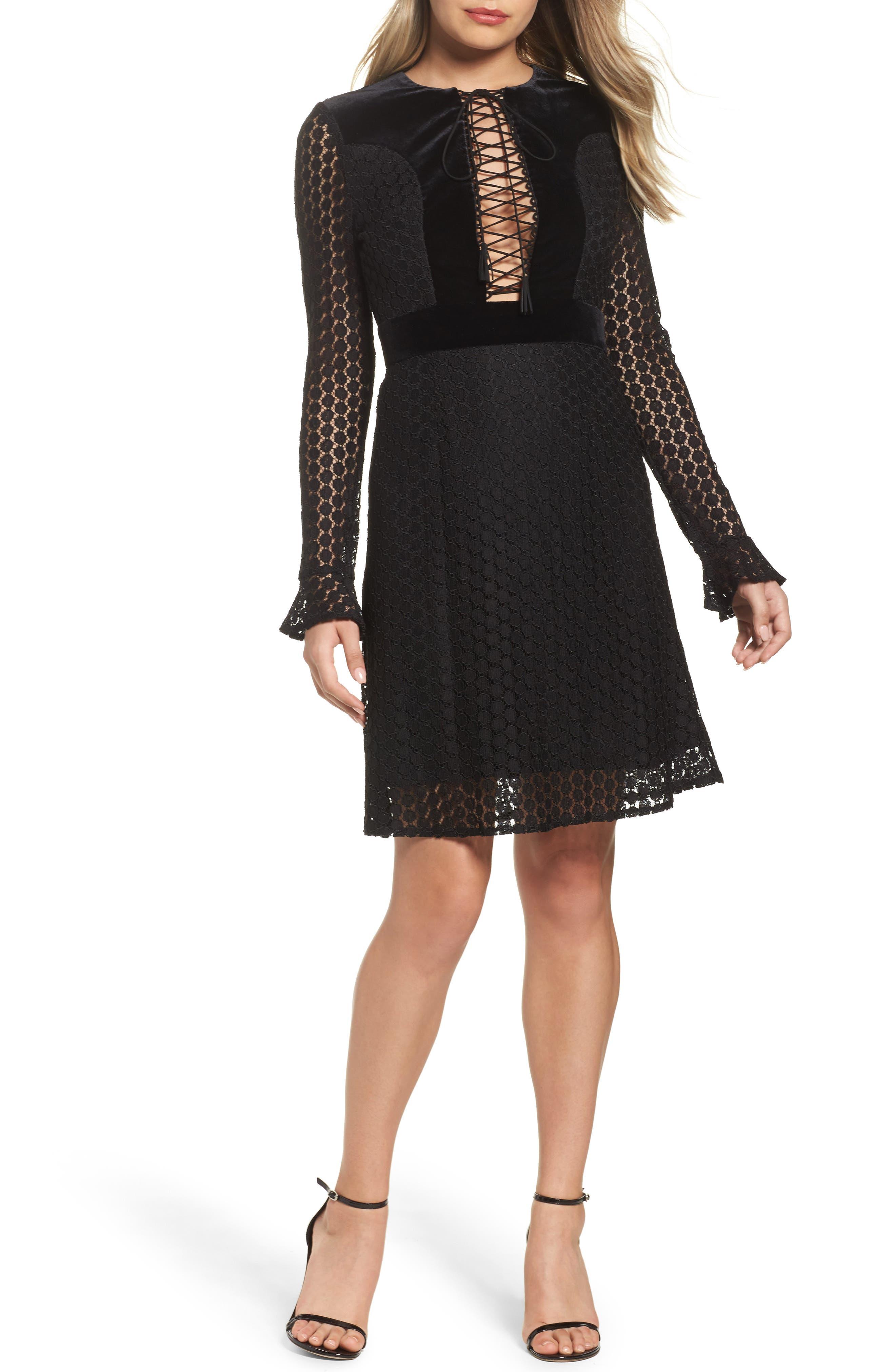 Pearl Lace & Velvet Fit & Flare Dress,                         Main,                         color, 001