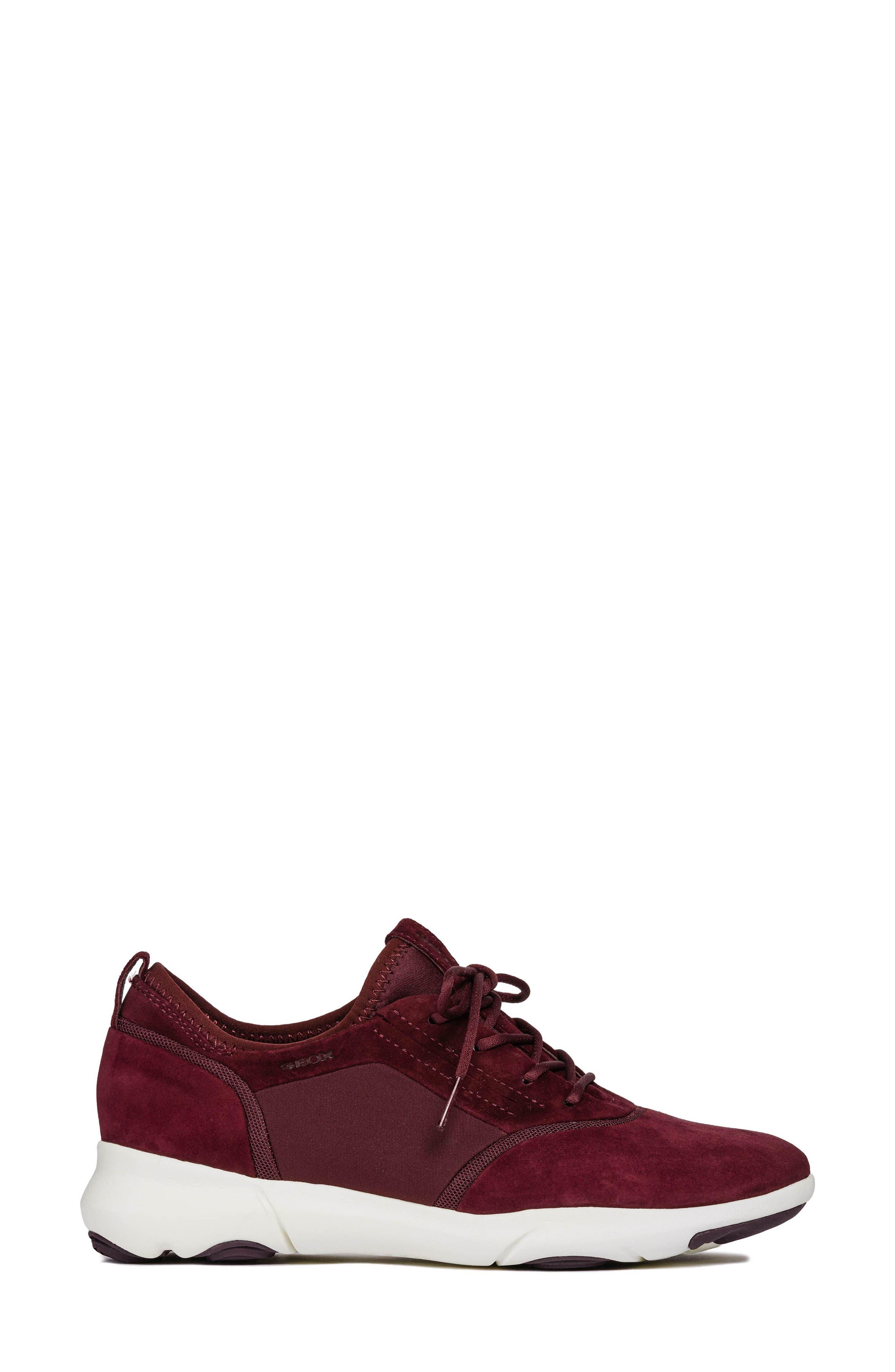 Nebula Sneaker,                             Alternate thumbnail 3, color,                             DARK BURGUNDY LEATHER