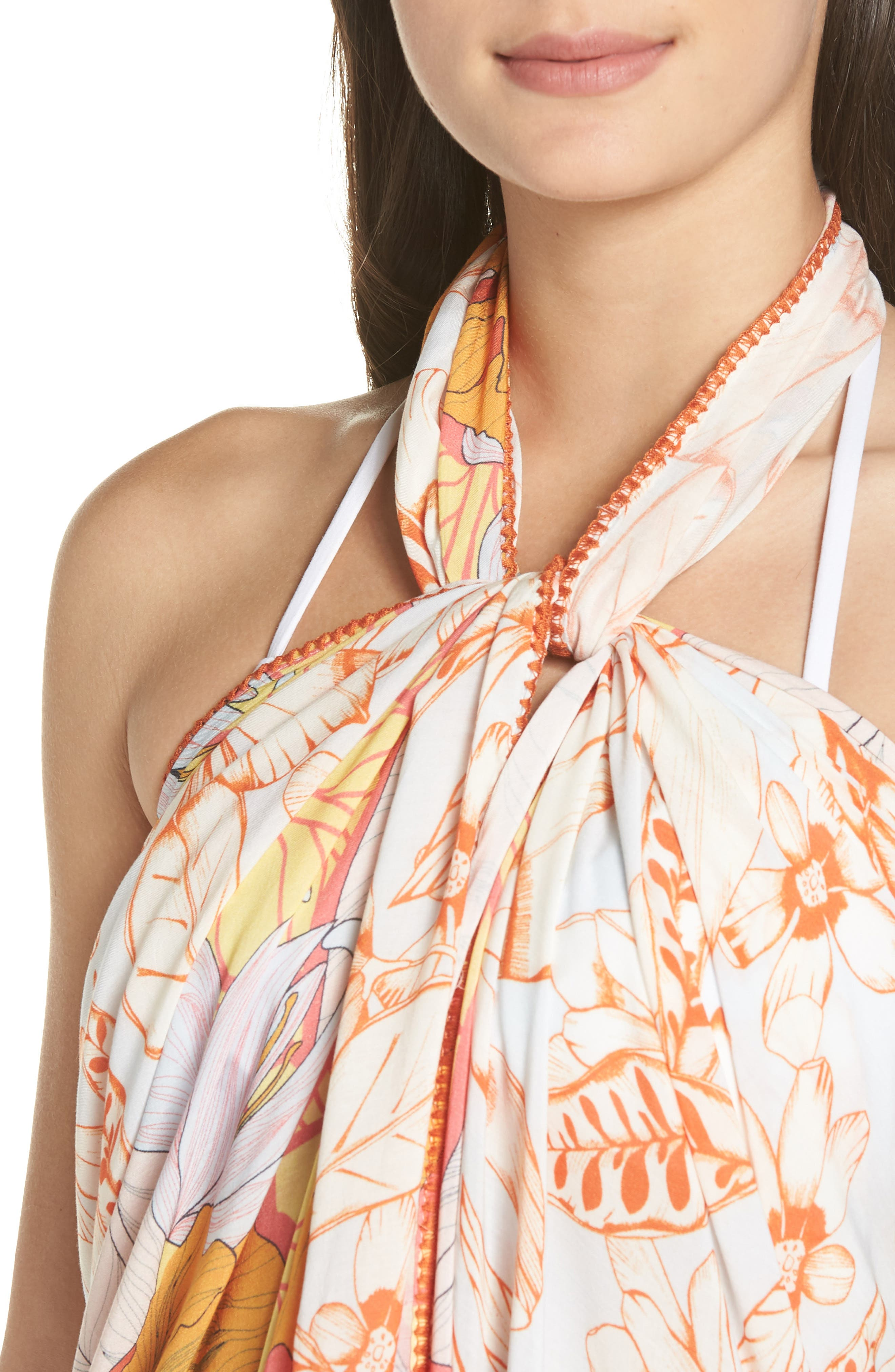 Mellow Yellow Leaf Pattern Pareo Cover-Up,                             Alternate thumbnail 7, color,                             700