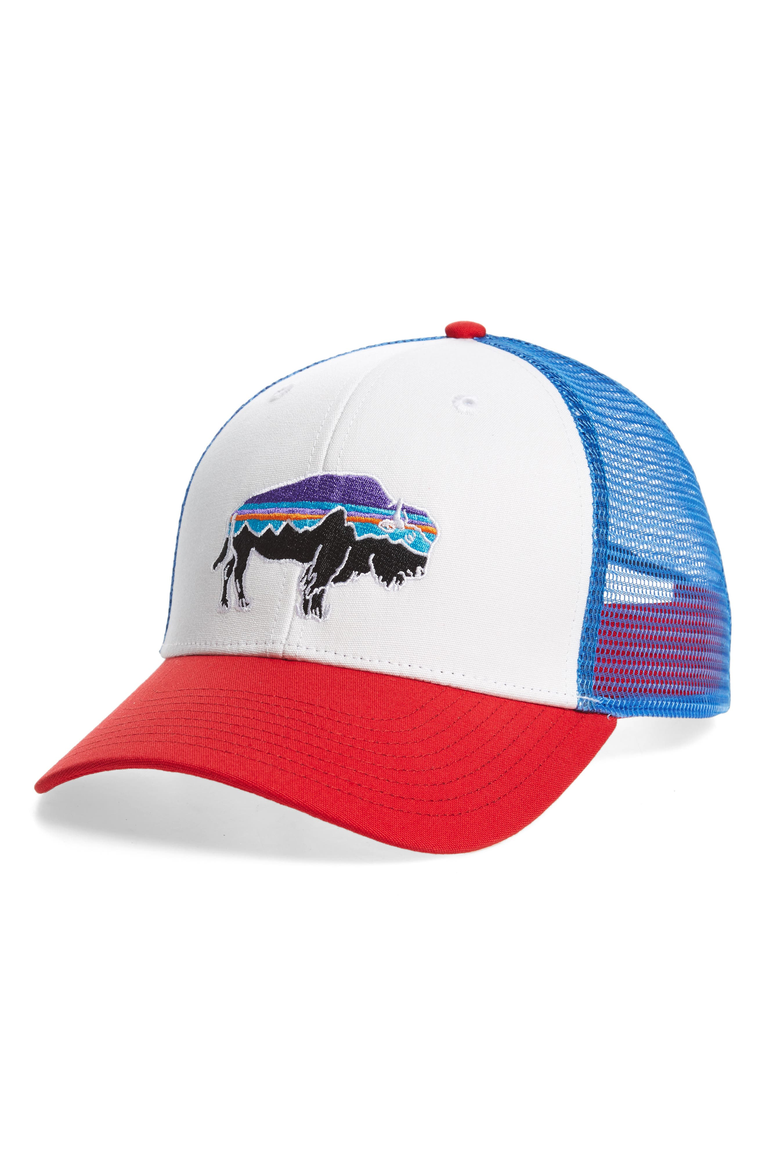 'Fitz Roy Bison' Trucker Hat,                         Main,                         color, WHITE FIRE