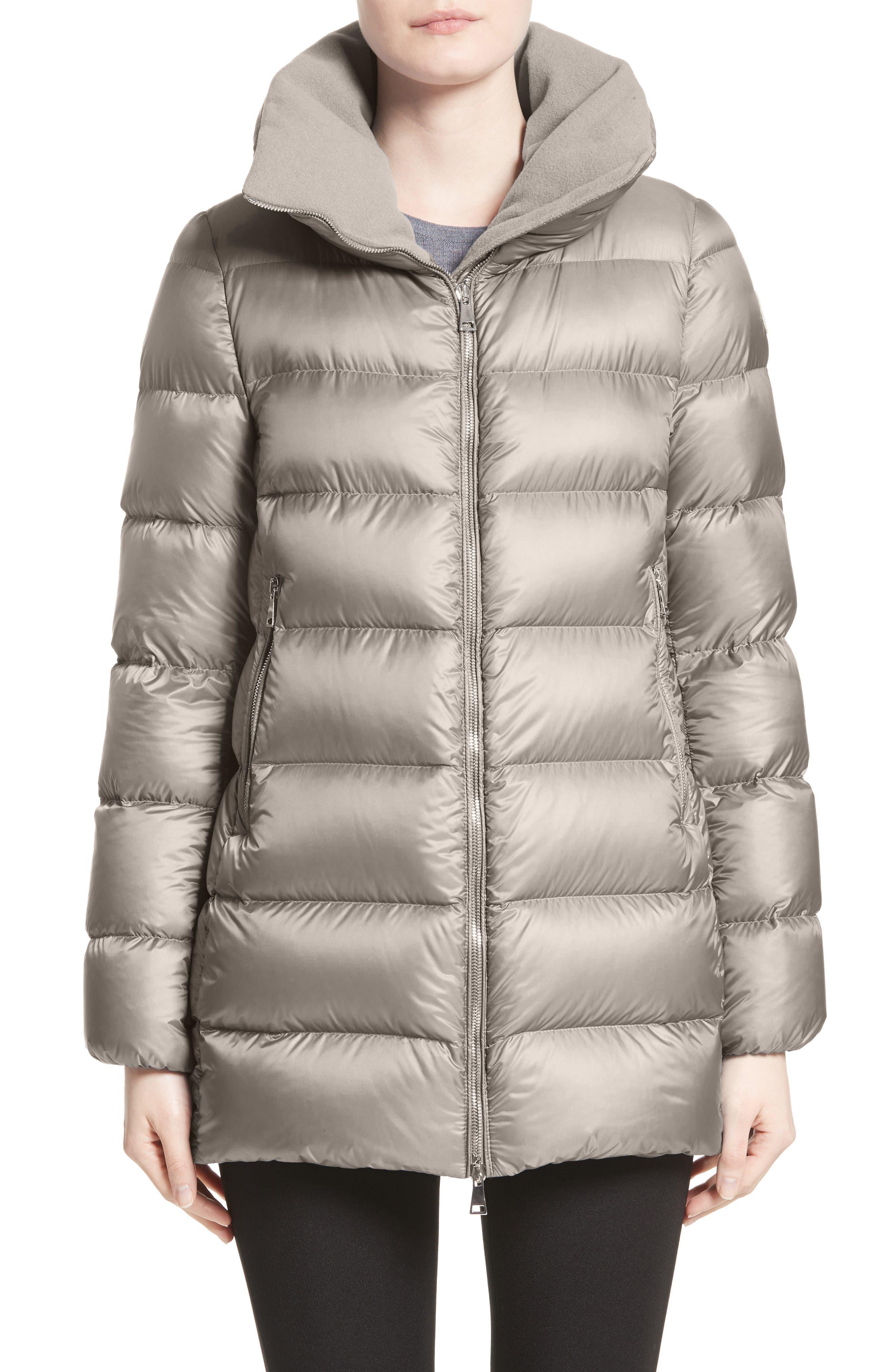 'Torcyn' Nylon Down Puffer Coat,                         Main,                         color, GREY