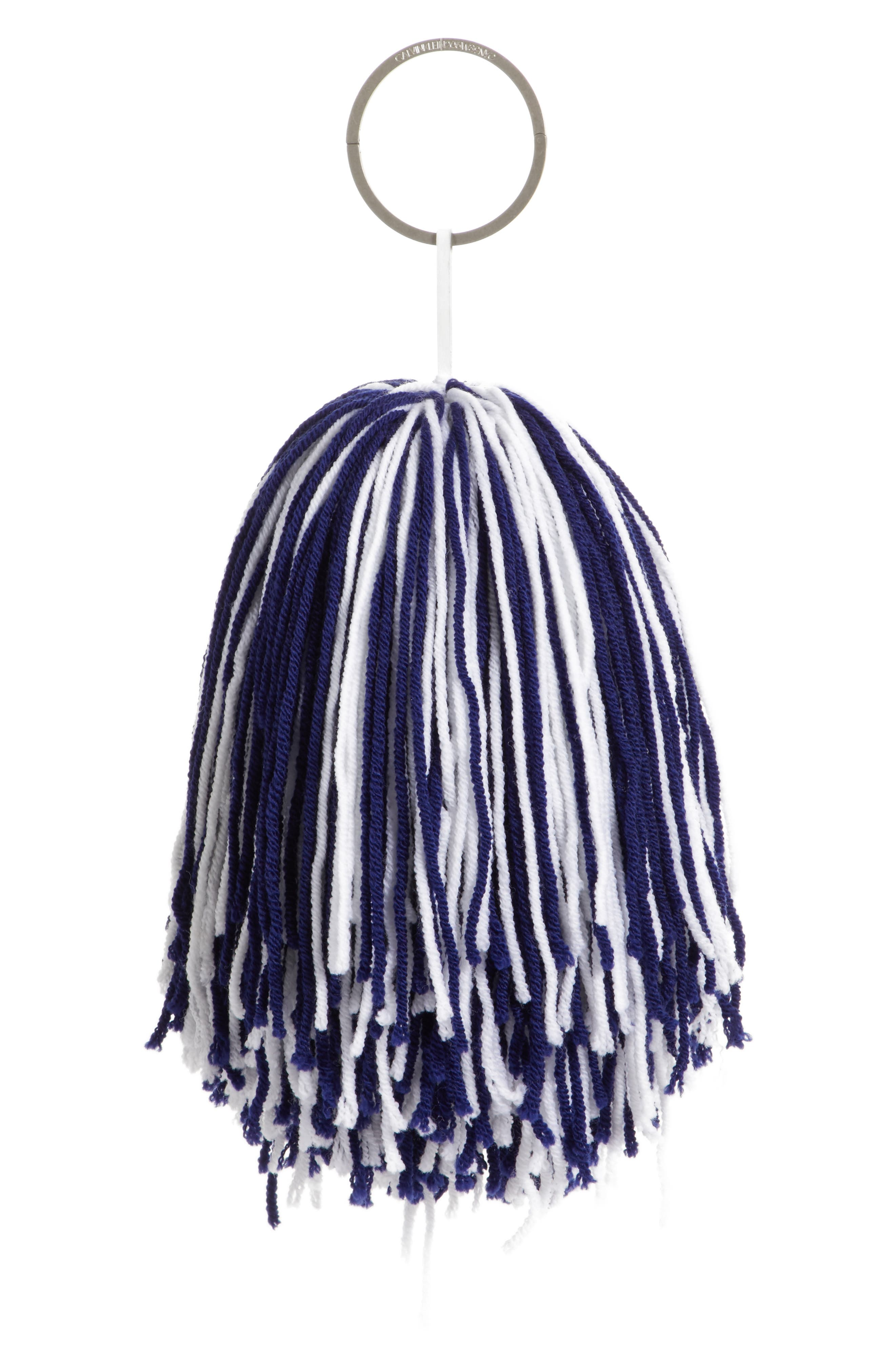 Pompom Bag Charm,                         Main,                         color, ROYAL BLUE/ WHITE