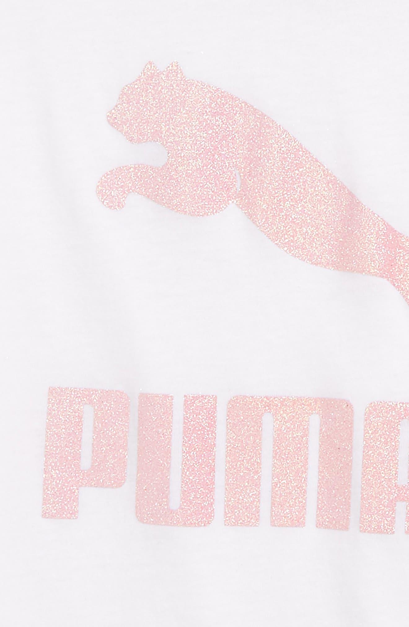 PUMA,                             Glitter Logo Tee,                             Alternate thumbnail 2, color,                             100