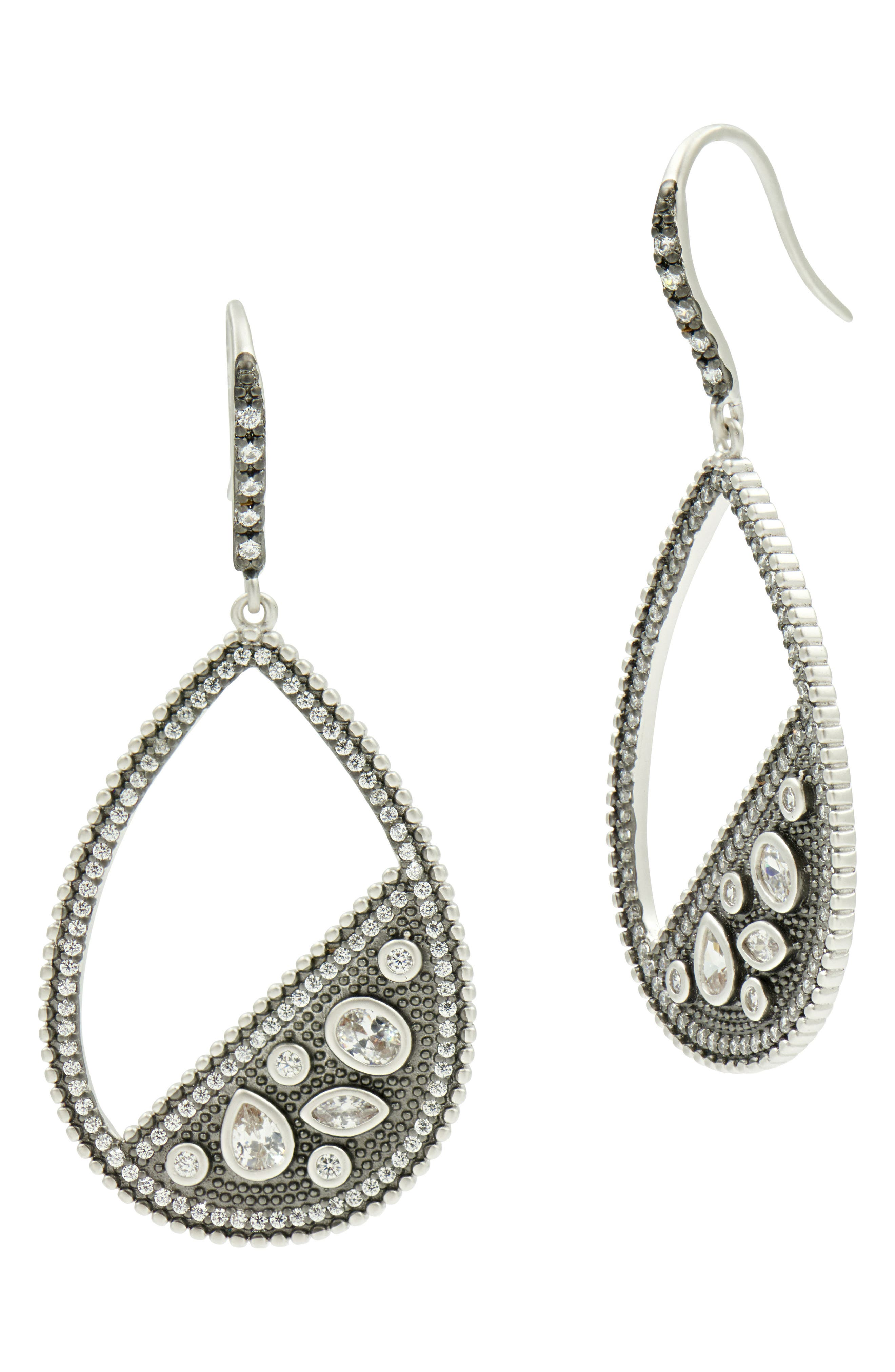 FREIDA ROTHMAN Industrial Finish Pavé Open Teardrop Earrings, Main, color, SILVER/ BLACK RHODIUM