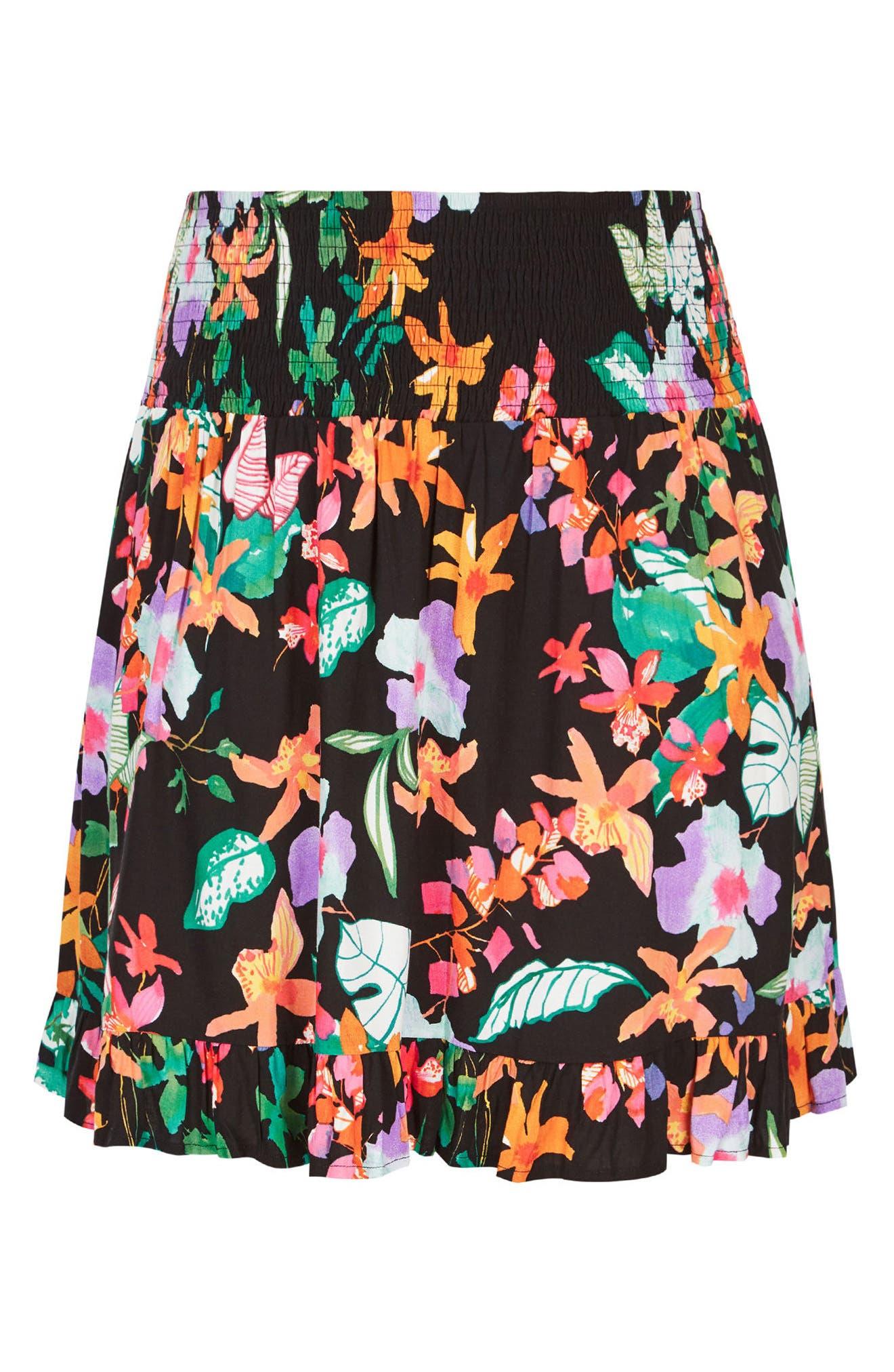 CITY CHIC,                             Molokai Floral Skirt,                             Alternate thumbnail 3, color,                             009
