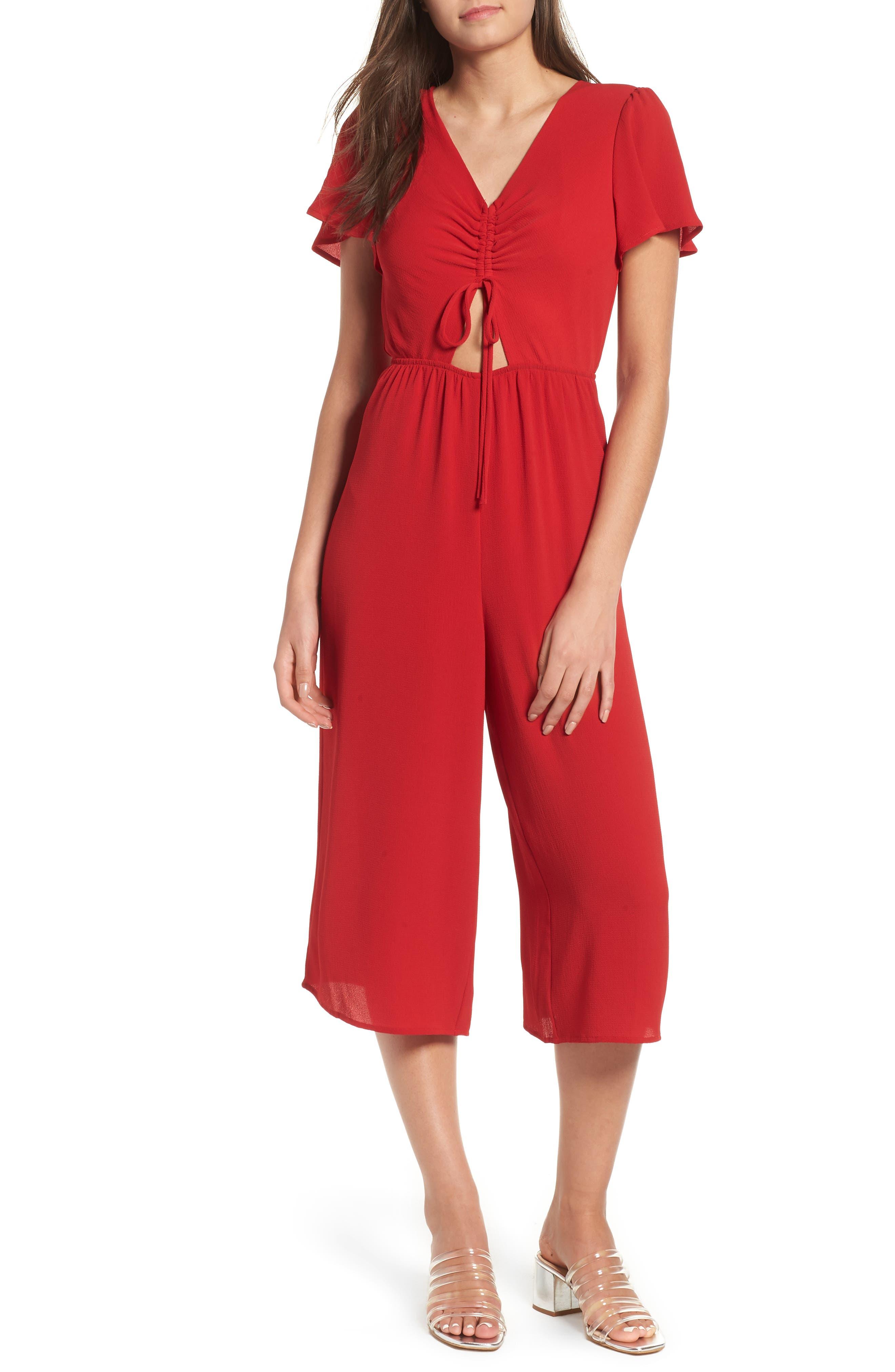Cinch Front Crop Jumpsuit,                         Main,                         color, RED LIPSTICK