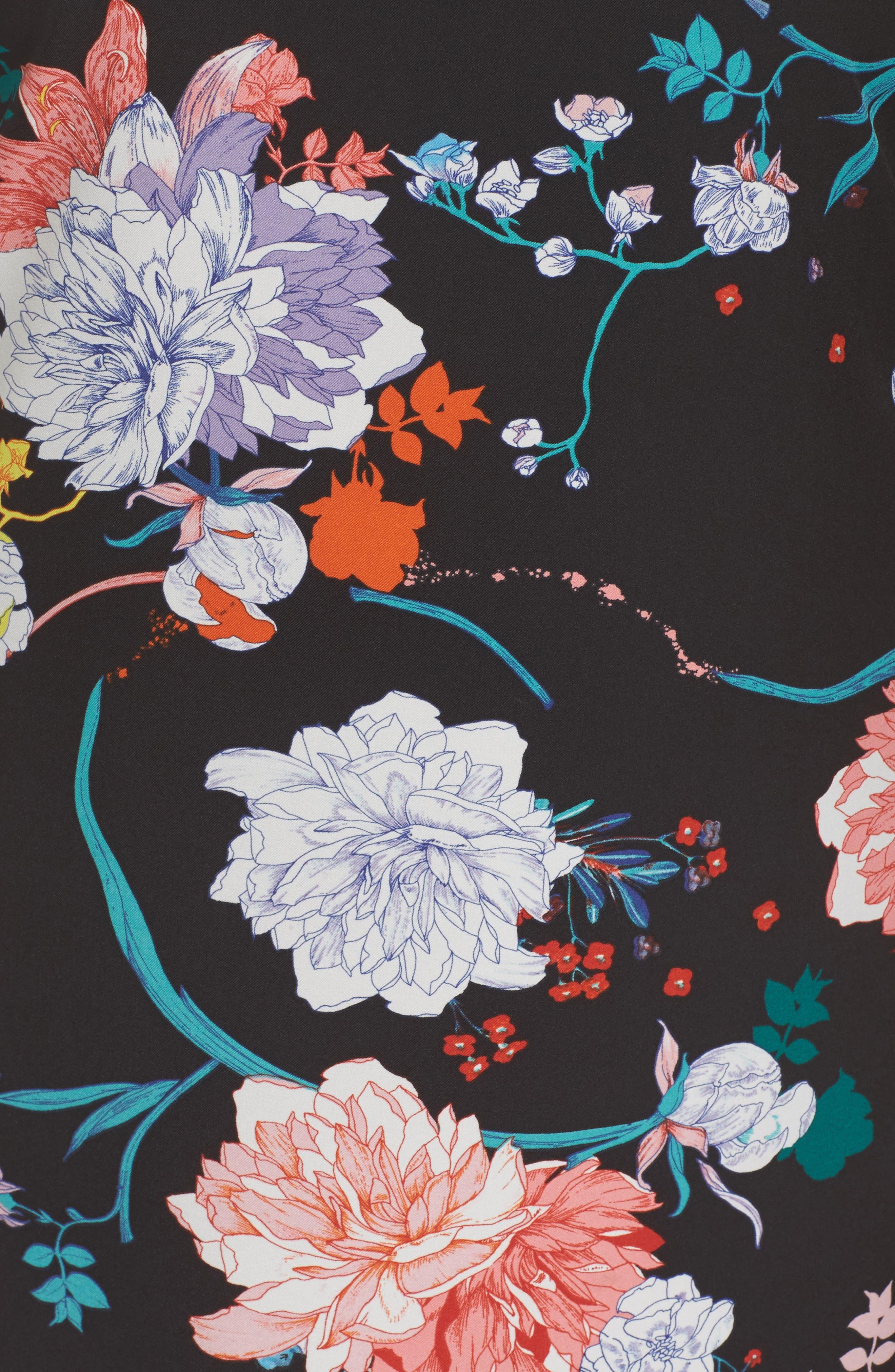 Zen Blosson Shift Dress,                             Alternate thumbnail 5, color,                             BLACK MULTI