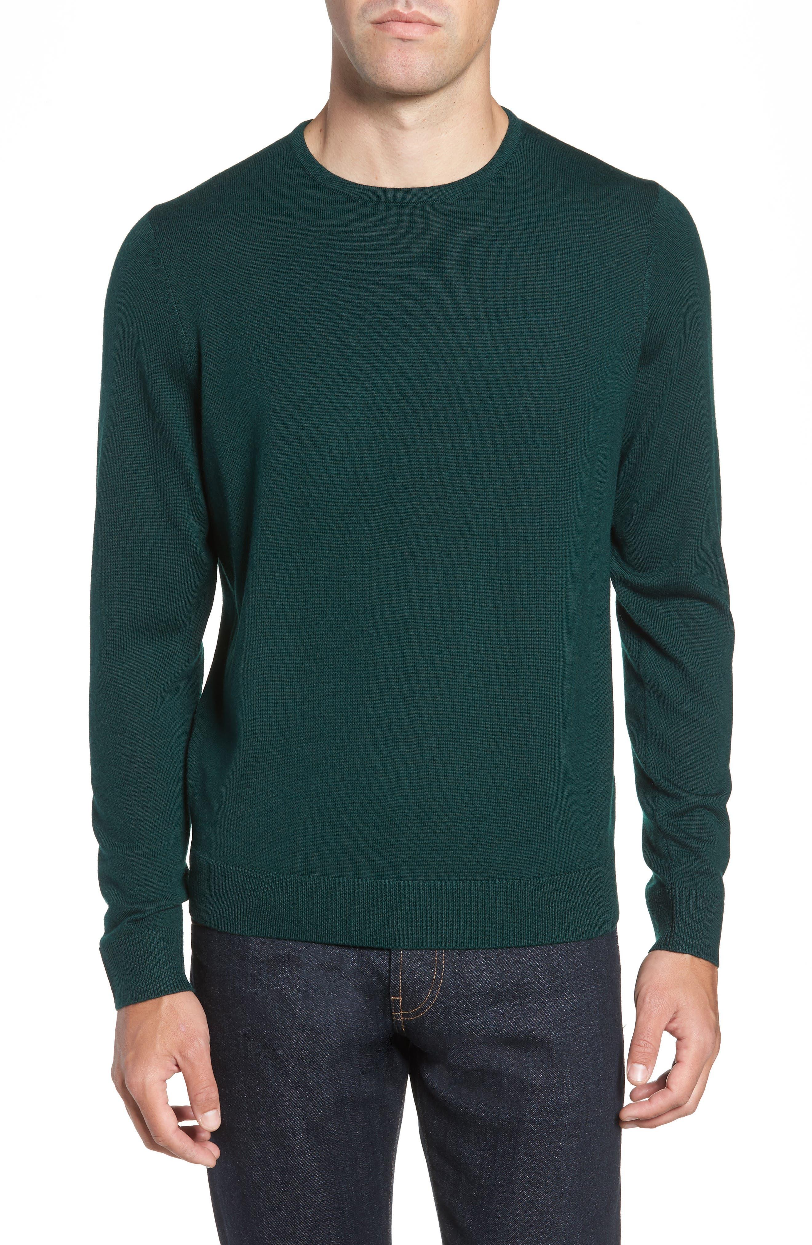 Nordstrom Shop Crewneck Merino Wool Sweater, Green