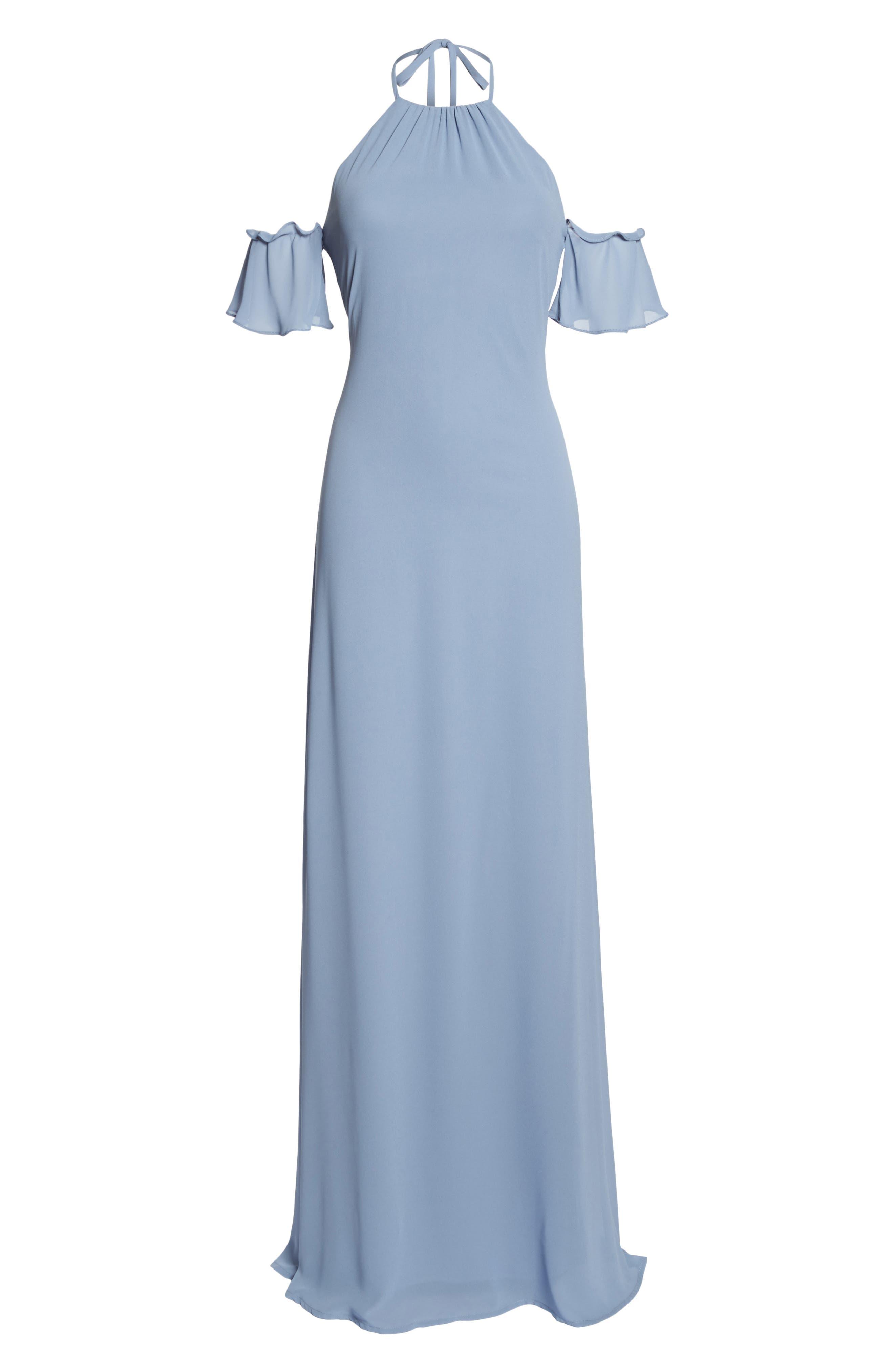 Ruffle Sleeve Halter Gown,                             Alternate thumbnail 6, color,                             420