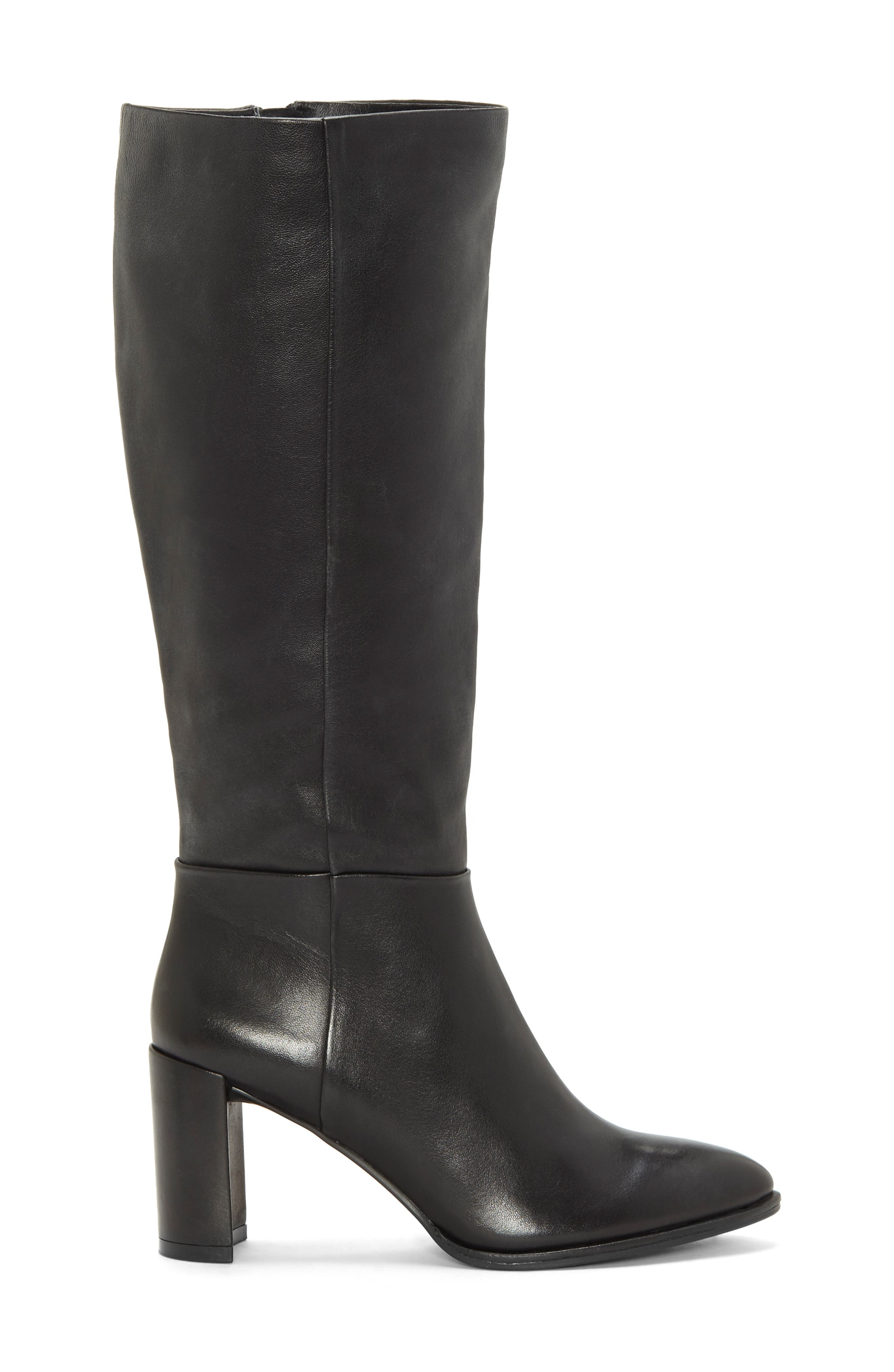 Wenda Knee High Boot,                             Alternate thumbnail 3, color,                             BLACK LEATHER