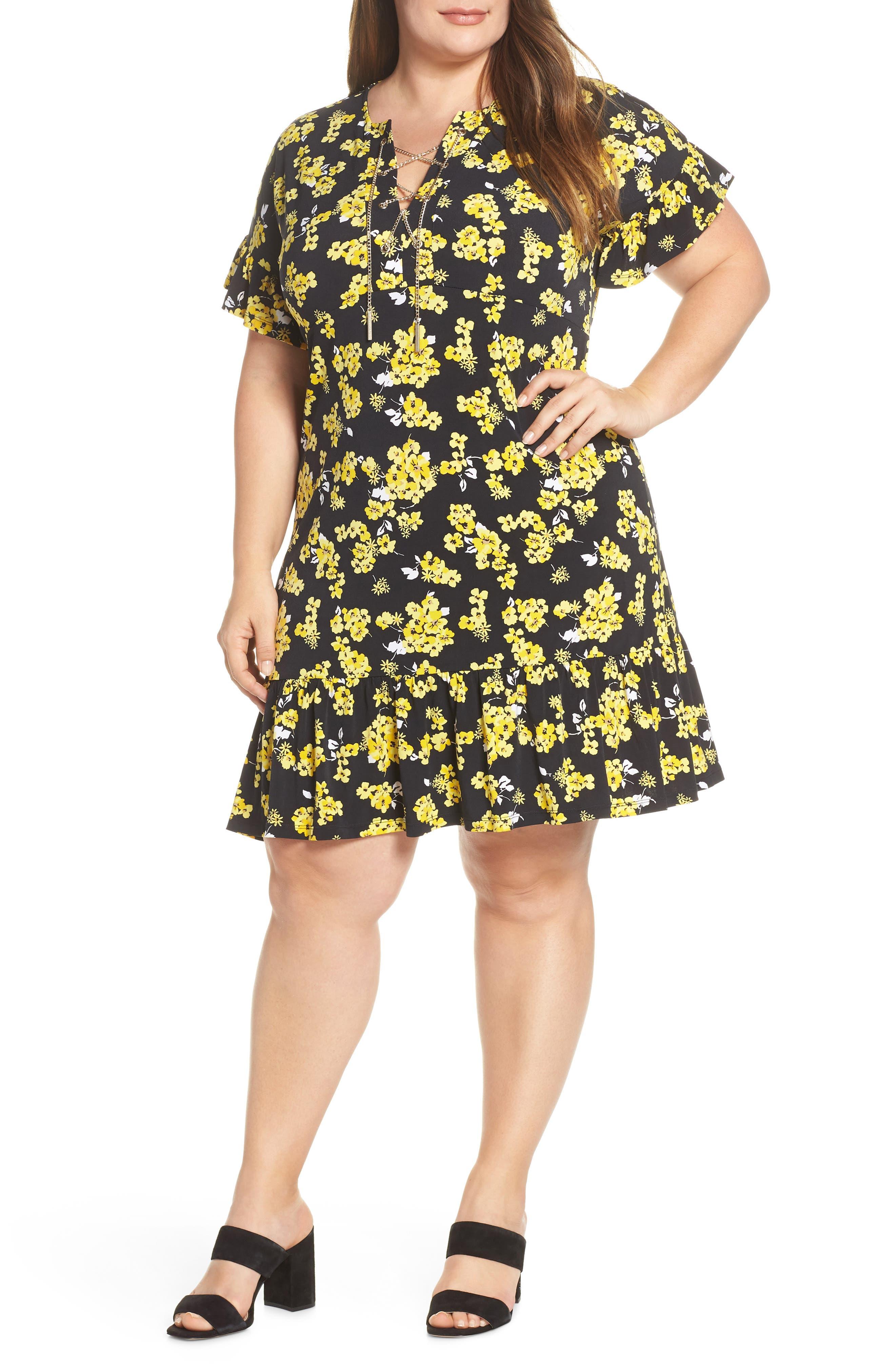 Plus Size Michael Michael Kors Glam Painterly Lace-Up Chain Dress, Black