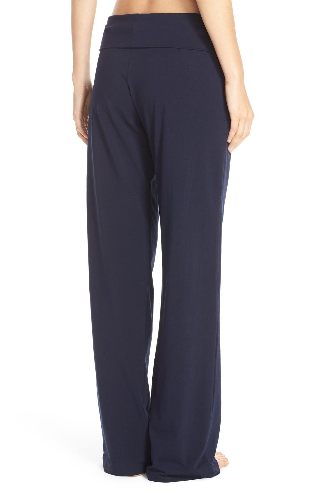 Wide Leg Stretch Cotton Pajama Pants,                             Alternate thumbnail 3, color,                             PEACOAT