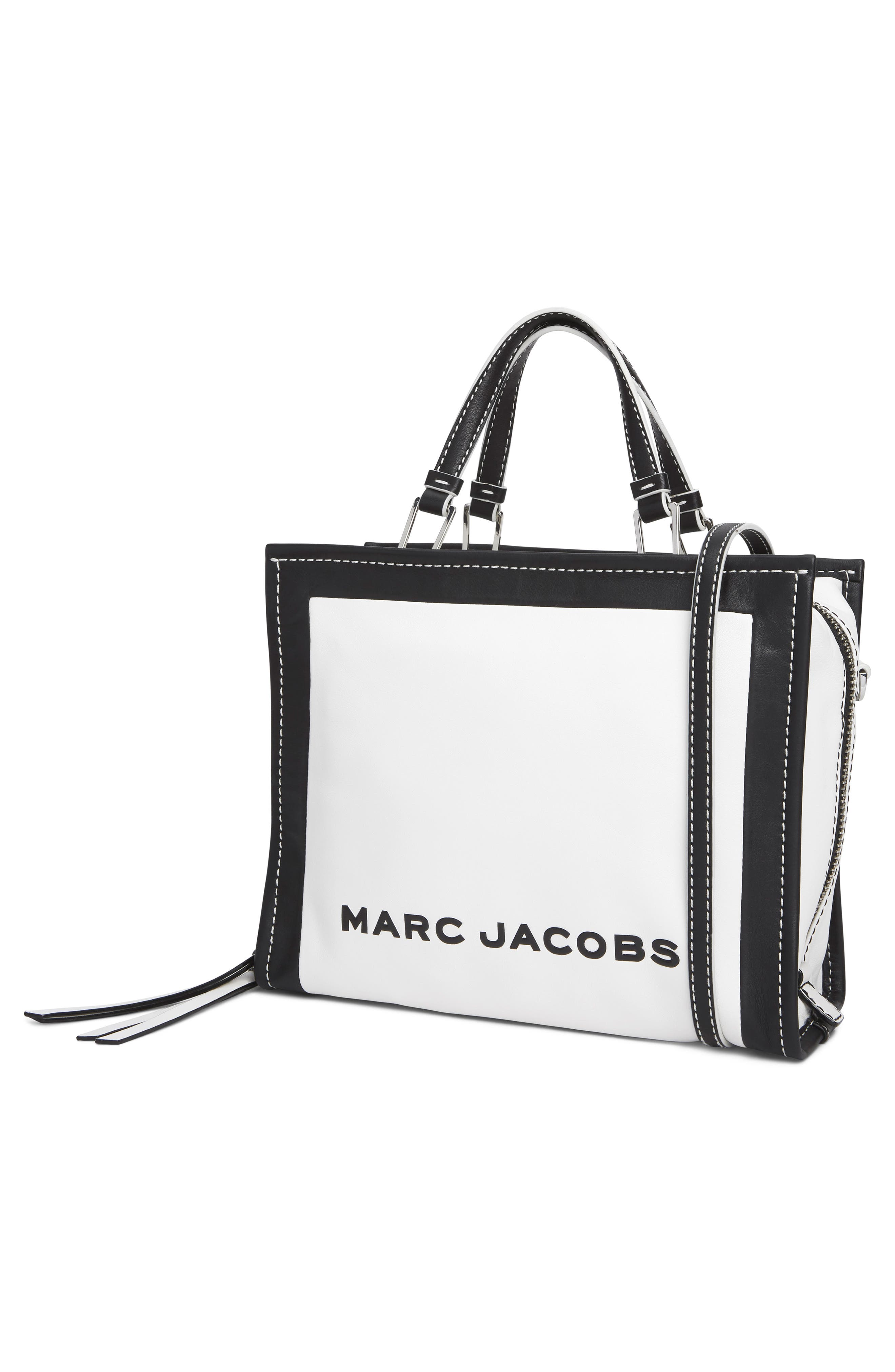 MARC JACOBS,                             The Box 29 Colorblock Leather Satchel,                             Alternate thumbnail 5, color,                             COTTON MULTI