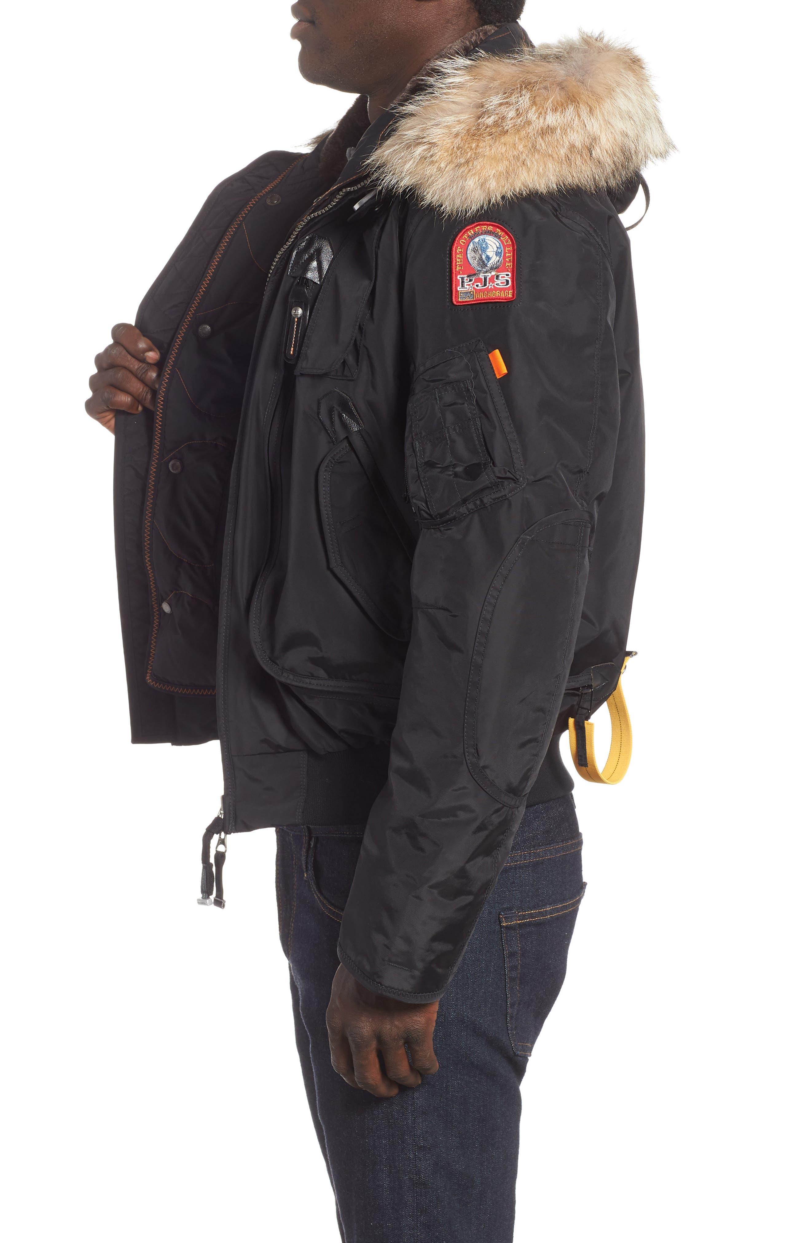 Gobi 700 Fill Power Down Bomber Jacket with Genuine Coyote Fur Trim,                             Alternate thumbnail 3, color,                             BLACK