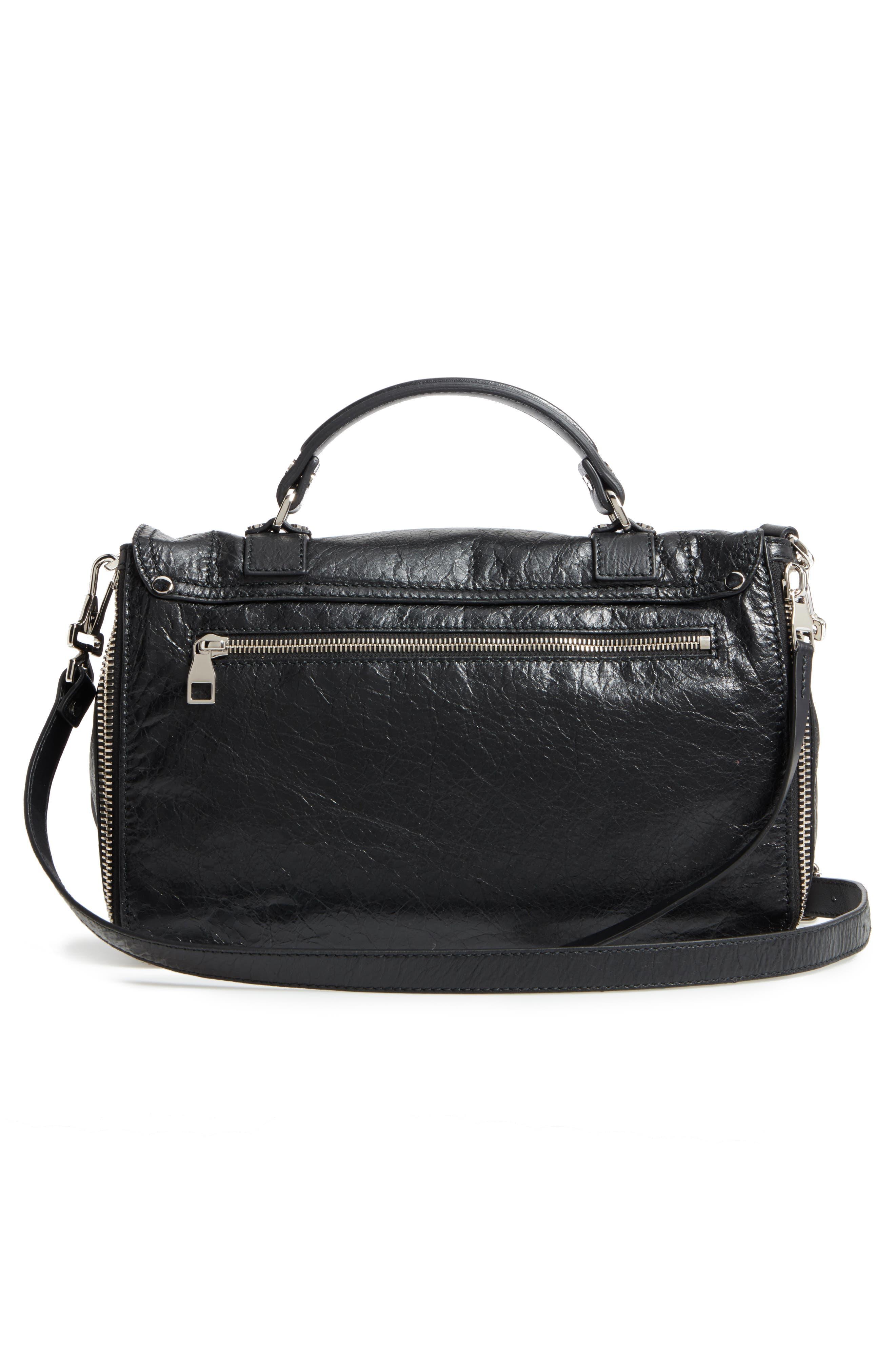 Medium PS1 Paper Leather Satchel,                             Alternate thumbnail 3, color,                             BLACK