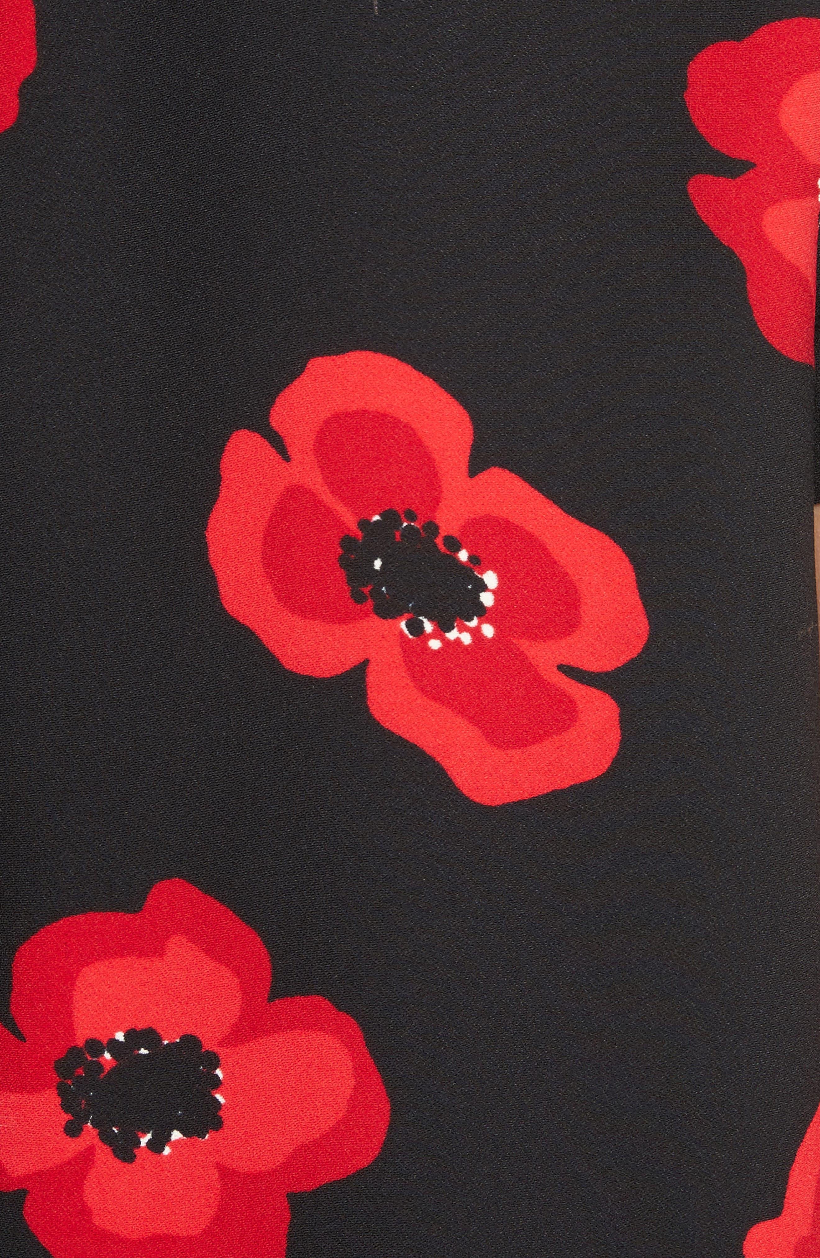 ruffle poppy shift dress,                             Alternate thumbnail 5, color,                             006