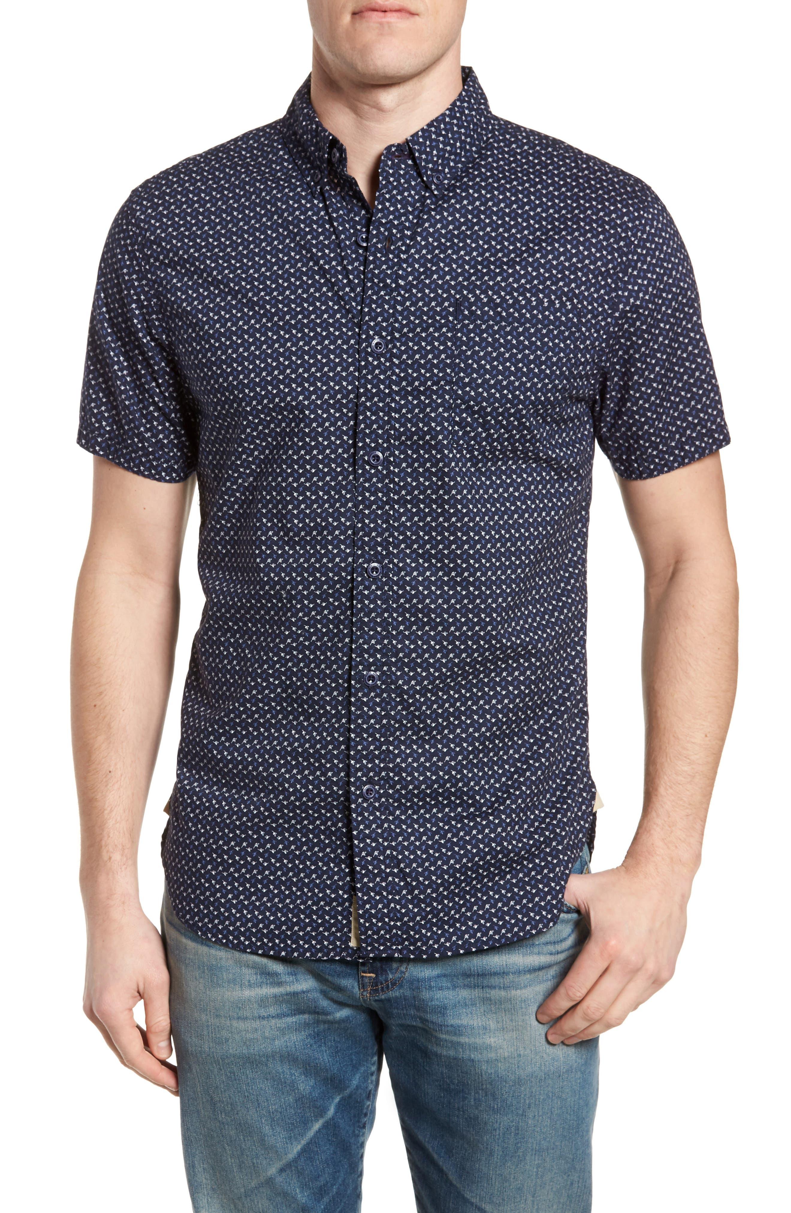 Truman Slim Fit Short Sleeve Sport Shirt,                         Main,                         color, NAVY