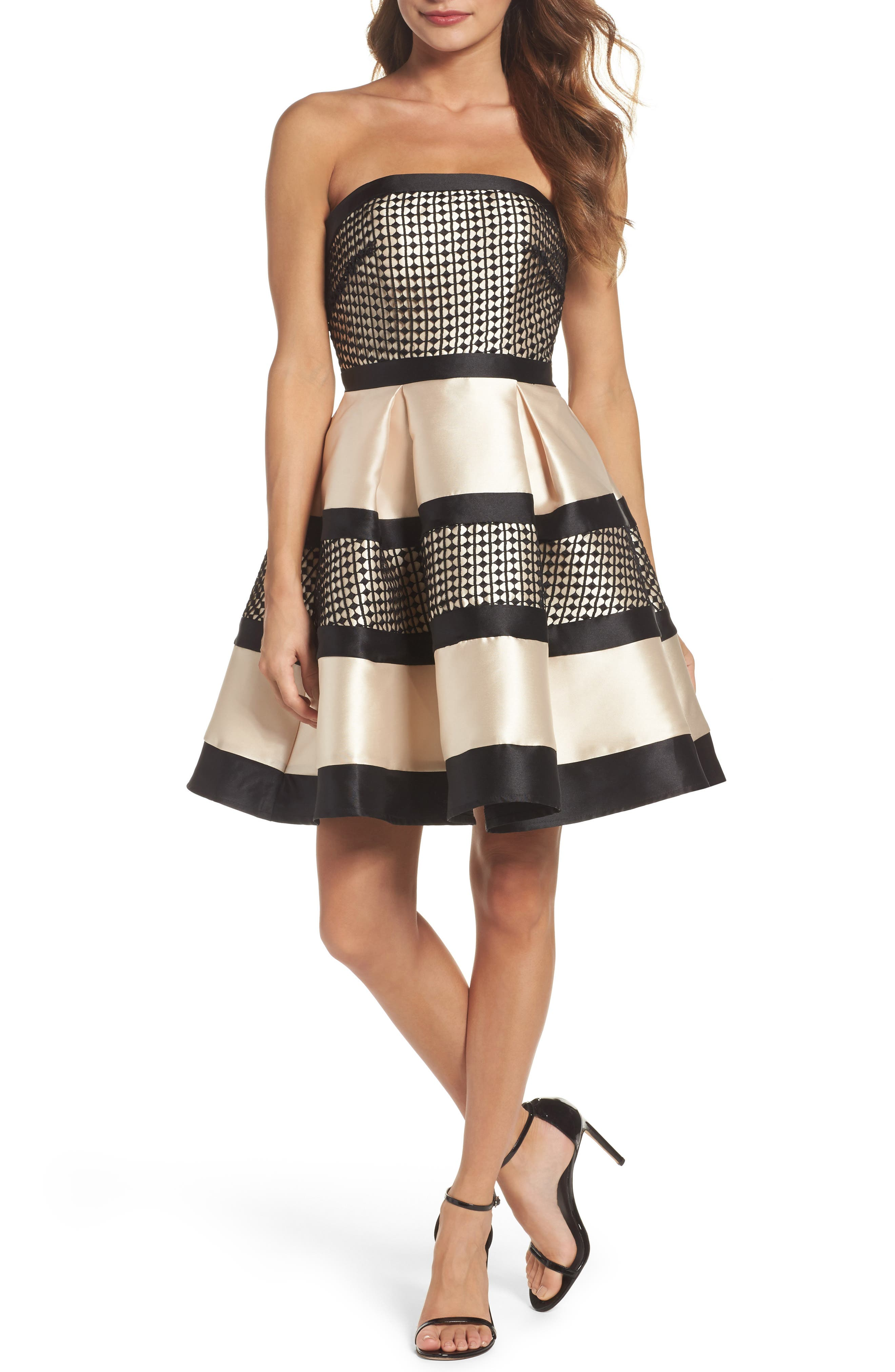 Crochet & Satin Fit & Flare Dress,                             Main thumbnail 1, color,