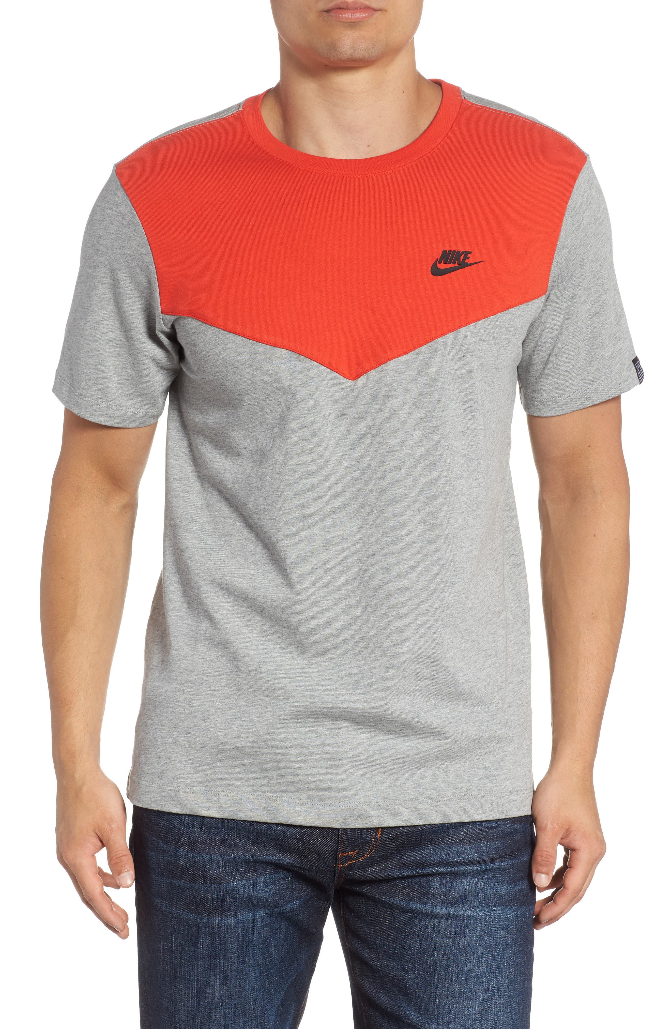 Windrunner Colorblocked T-Shirt,                             Main thumbnail 1, color,                             HABANERO RED/ HEATHER/ BLACK