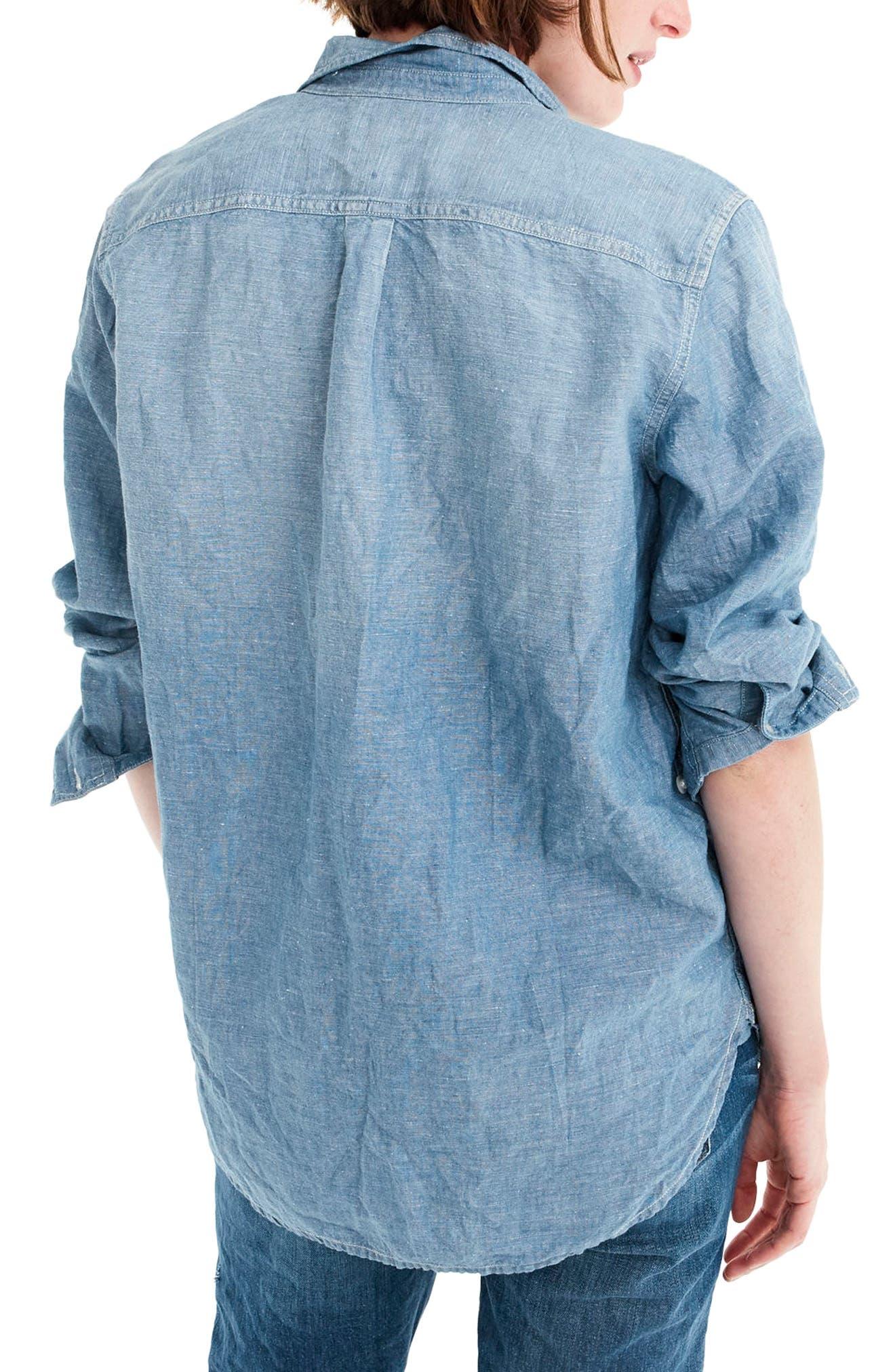 Chambray Tunic Shirt,                             Alternate thumbnail 2, color,                             BLACK ROCK WASH