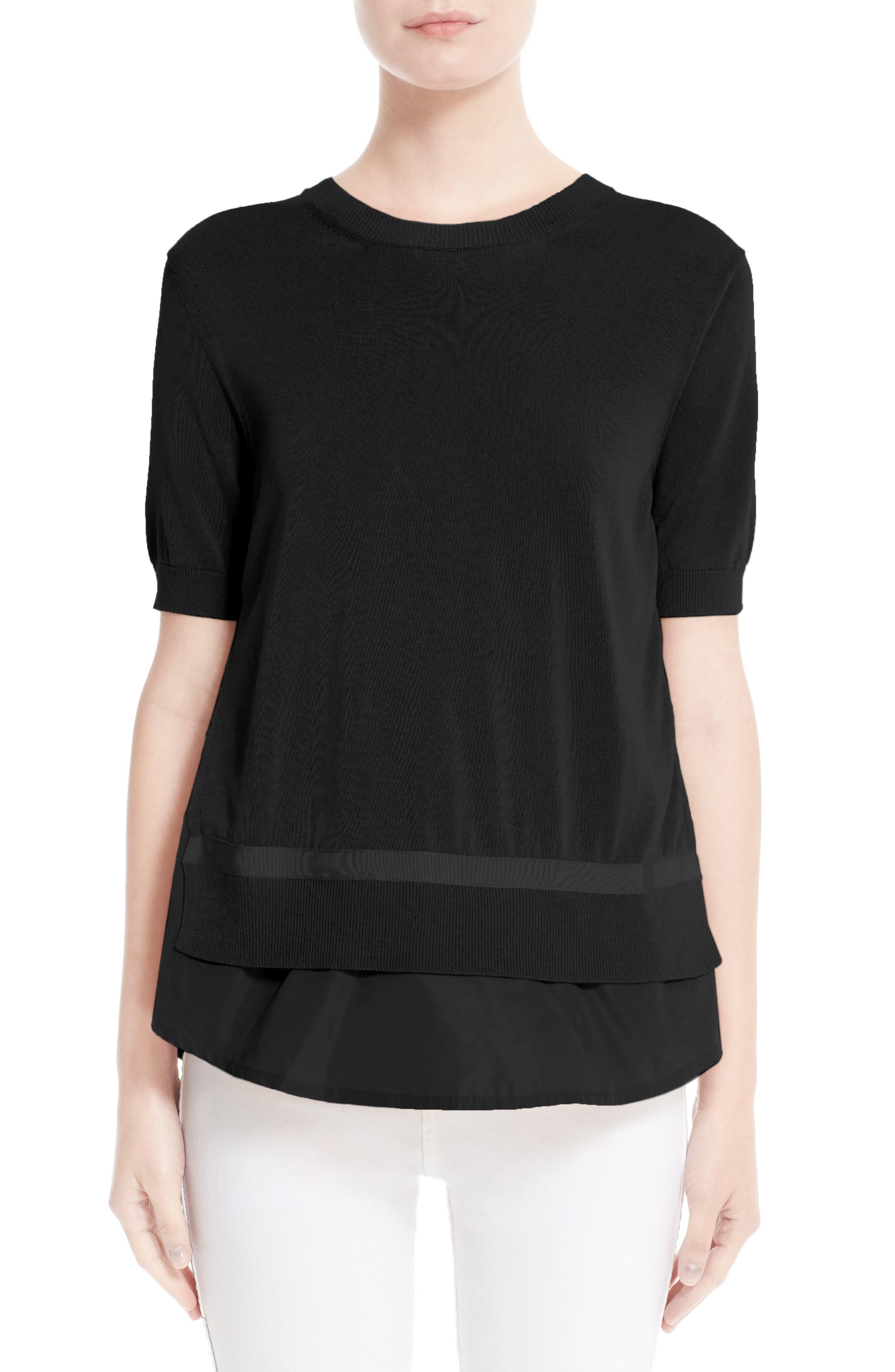 Tricot Knit Top,                         Main,                         color, BLACK
