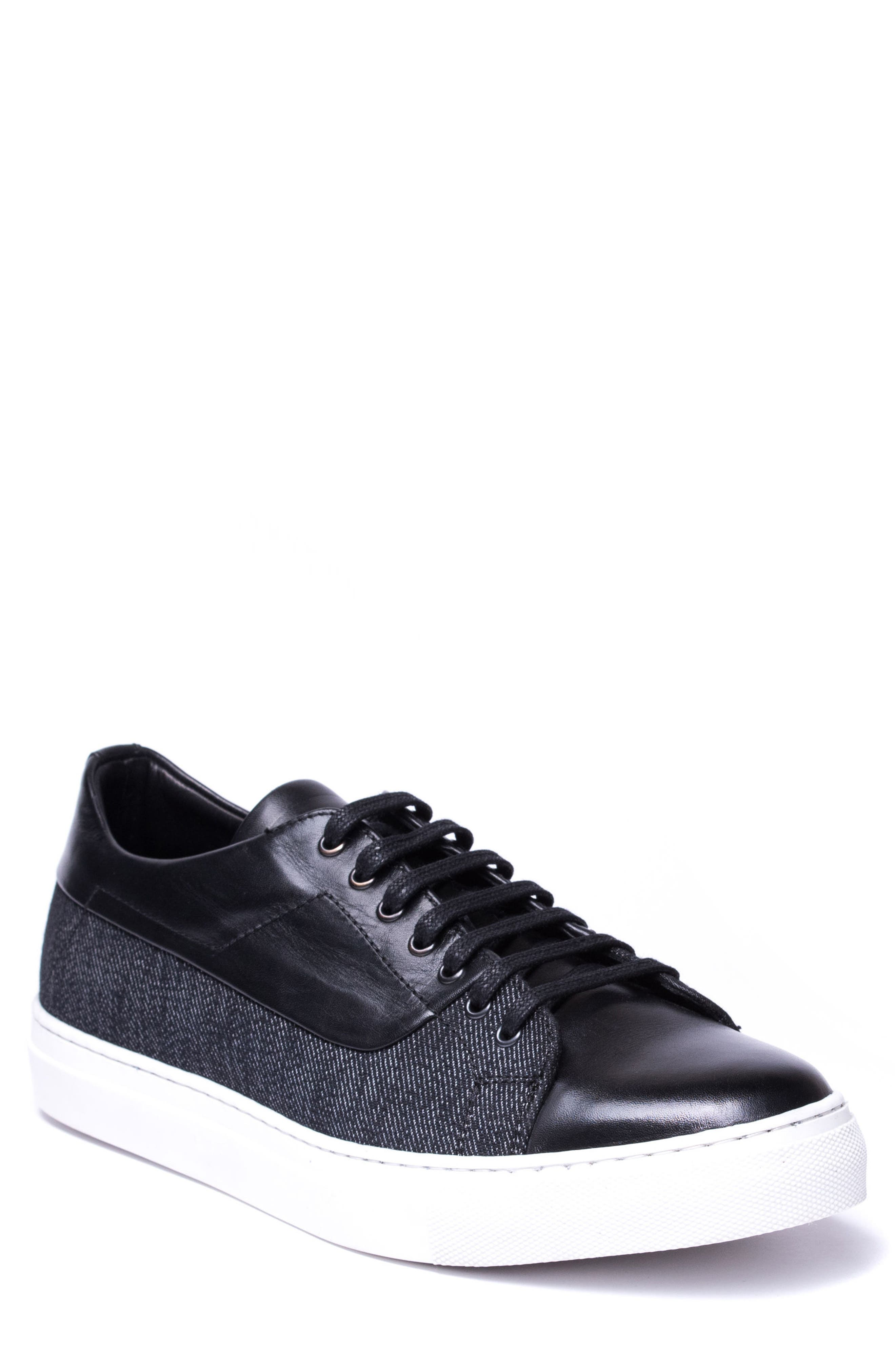 Luke Low Top Sneaker,                         Main,                         color, BLACK LEATHER