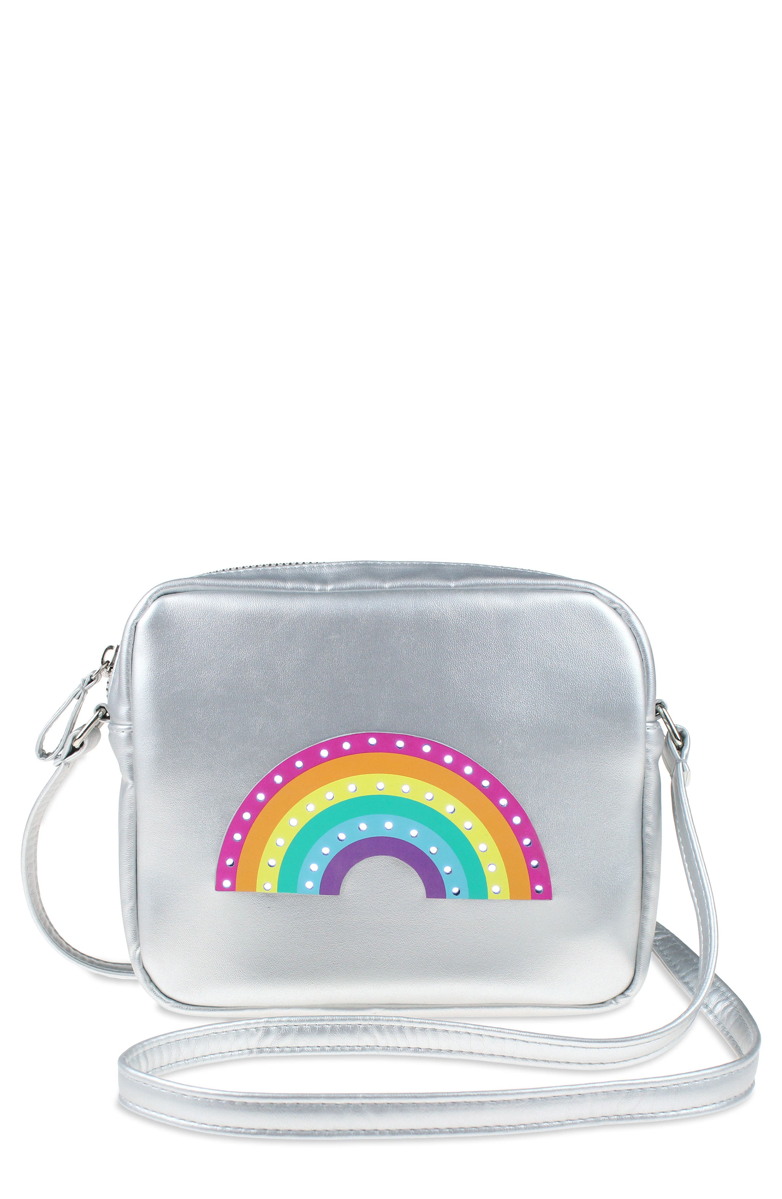 CAPELLI NEW YORK,                             Capelli LED Light-Up Rainbow Faux Leather Crossbody Bag,                             Main thumbnail 1, color,                             047