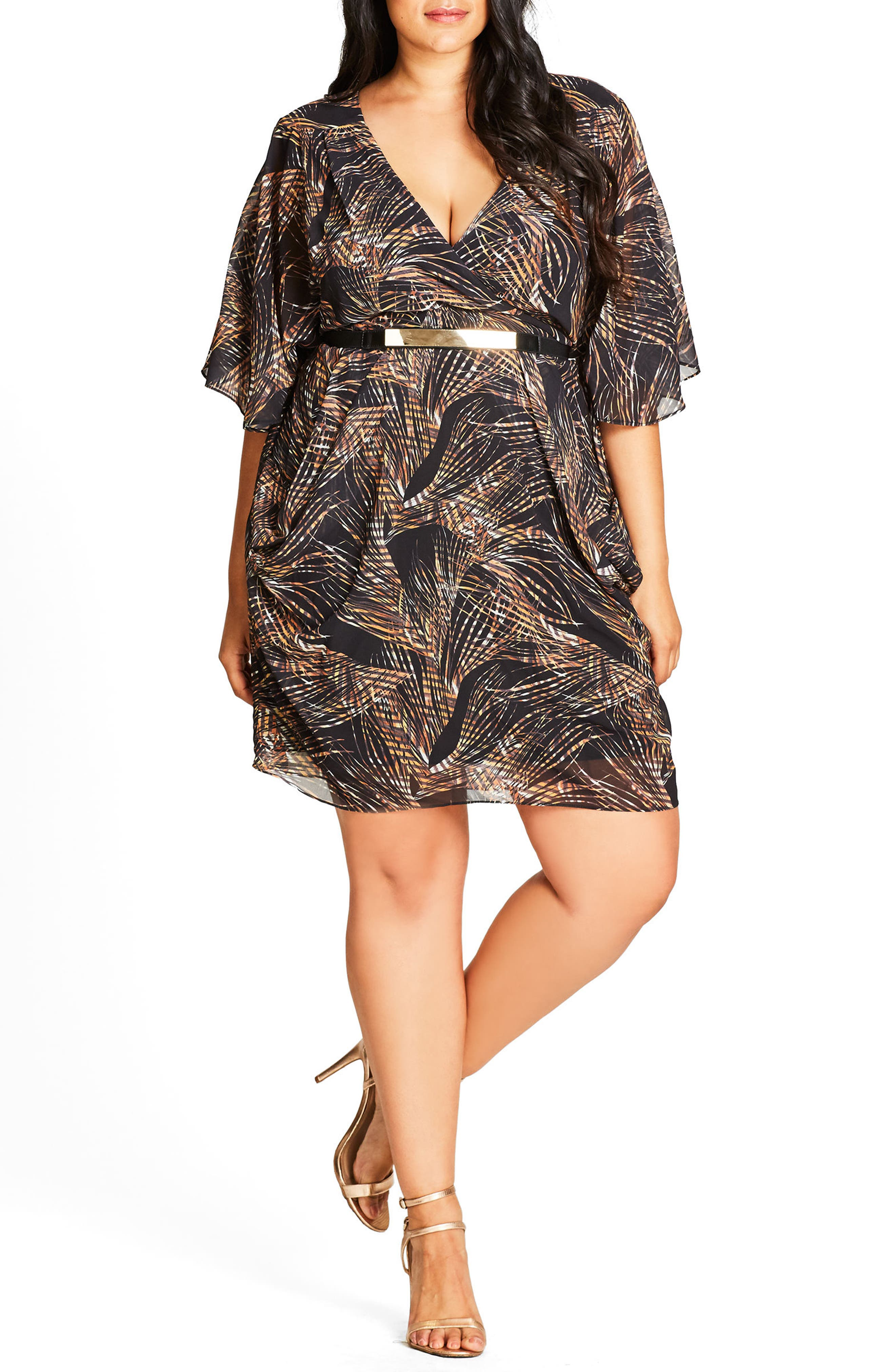 Midnight Palm Belted Dress,                         Main,                         color, 001