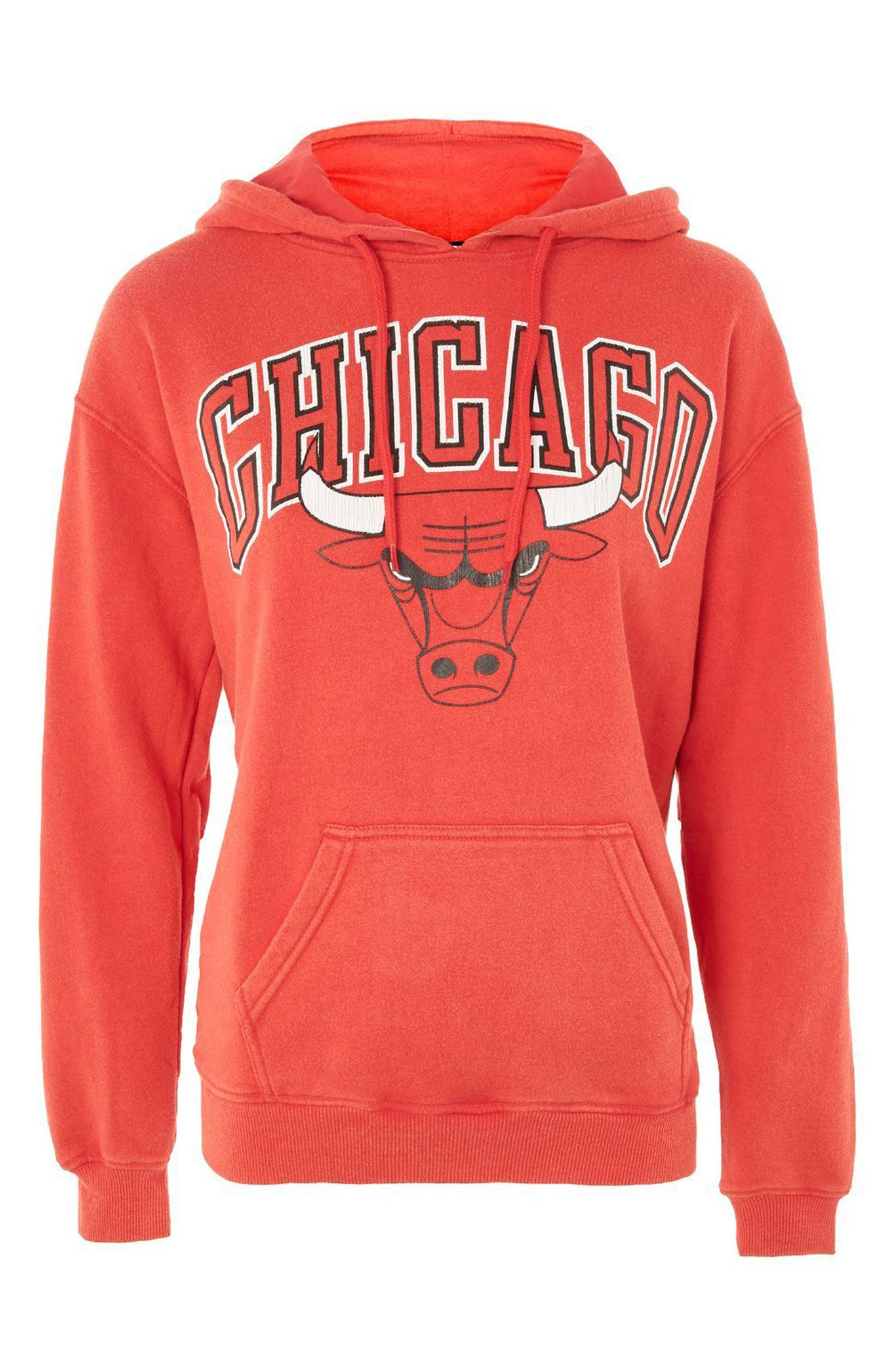 TOPSHOP,                             by x UNX Chicago Bulls Hoodie,                             Alternate thumbnail 4, color,                             601