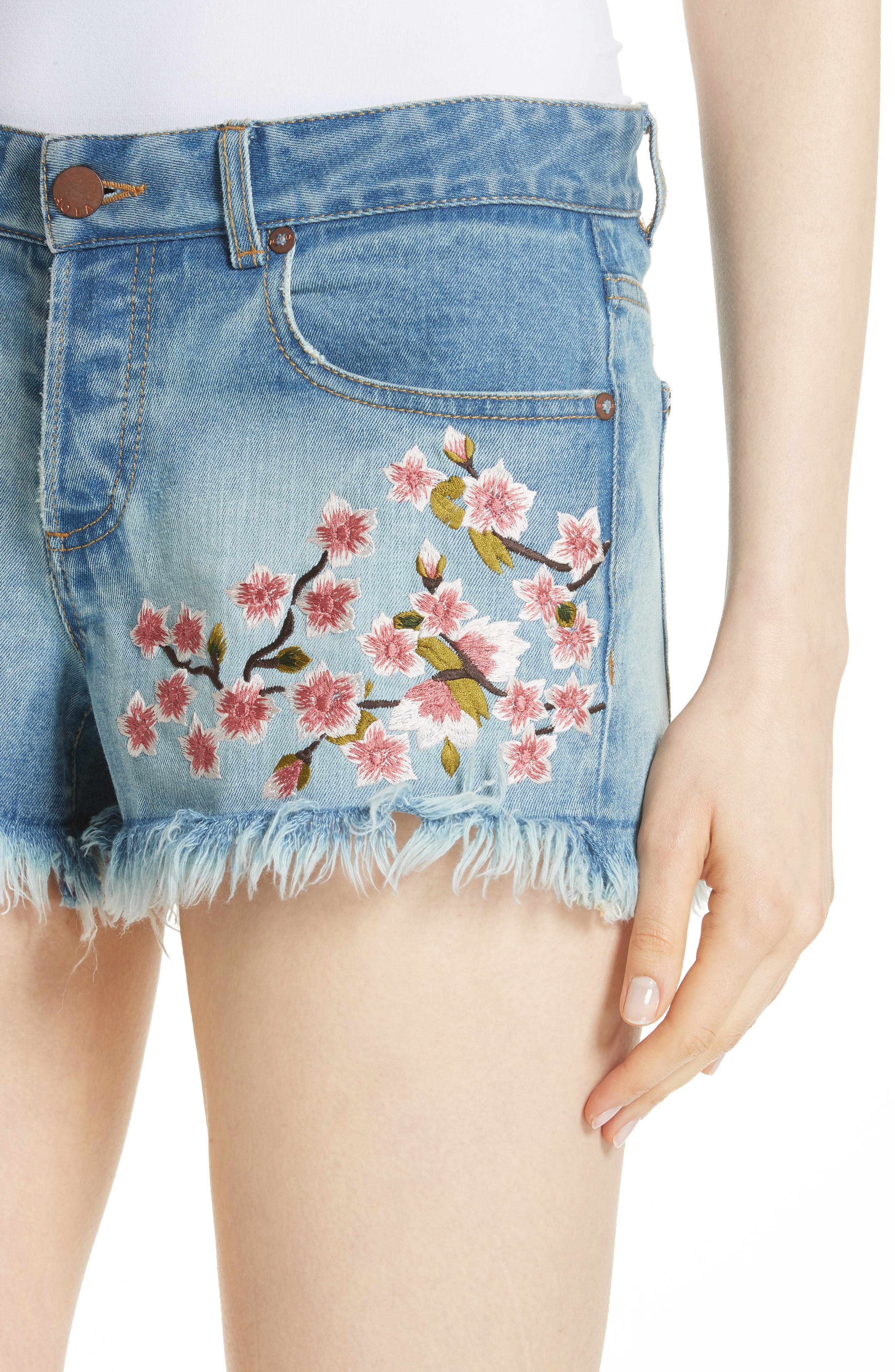 Embroidered Denim Shorts,                             Alternate thumbnail 4, color,                             SWEET EMOTION/ MULTI