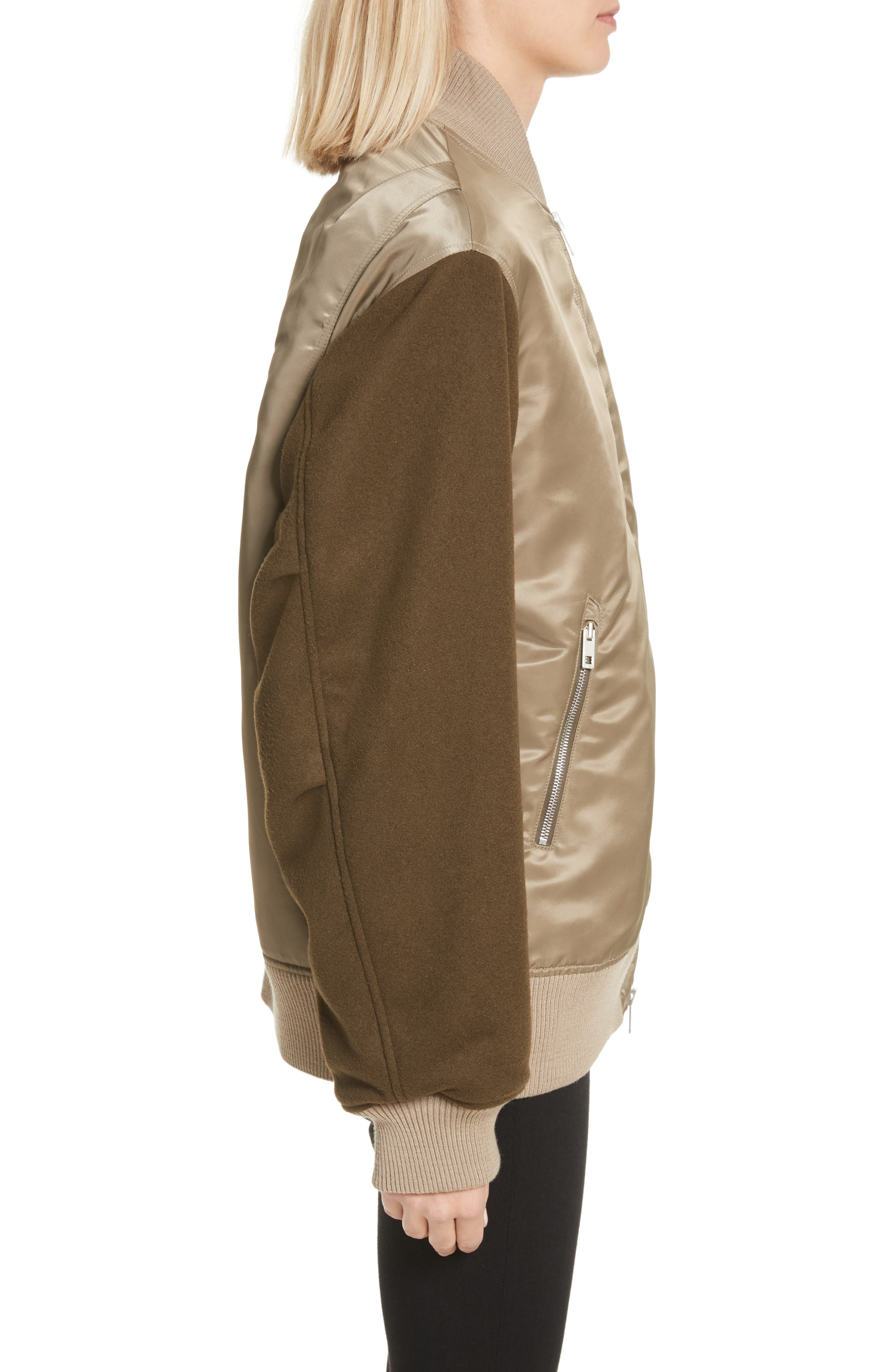 Elle Mixed Media Bomber Jacket,                             Alternate thumbnail 3, color,                             315