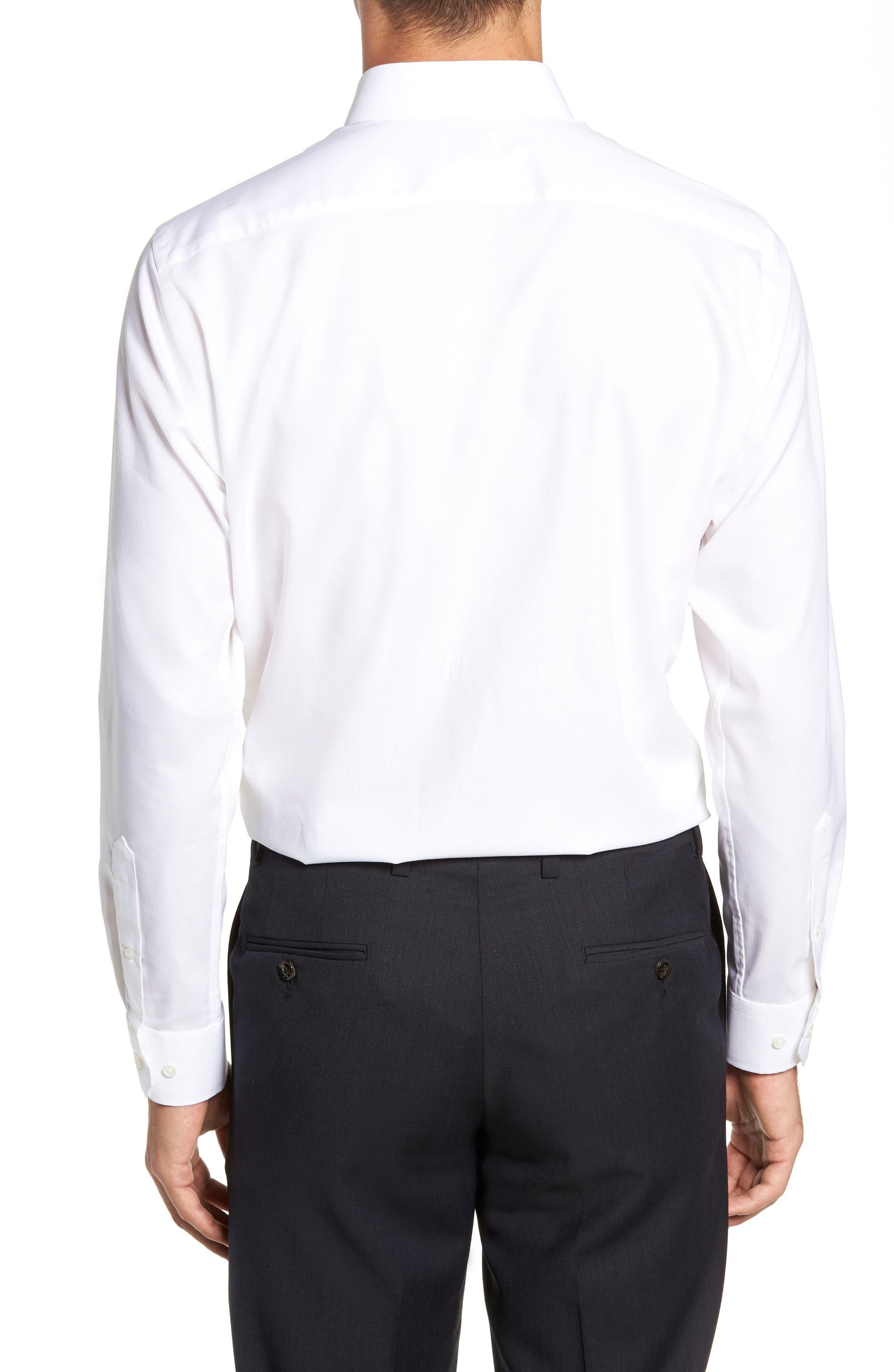 Trim Fit Stretch Solid Dress Shirt,                             Alternate thumbnail 3, color,                             WHITE